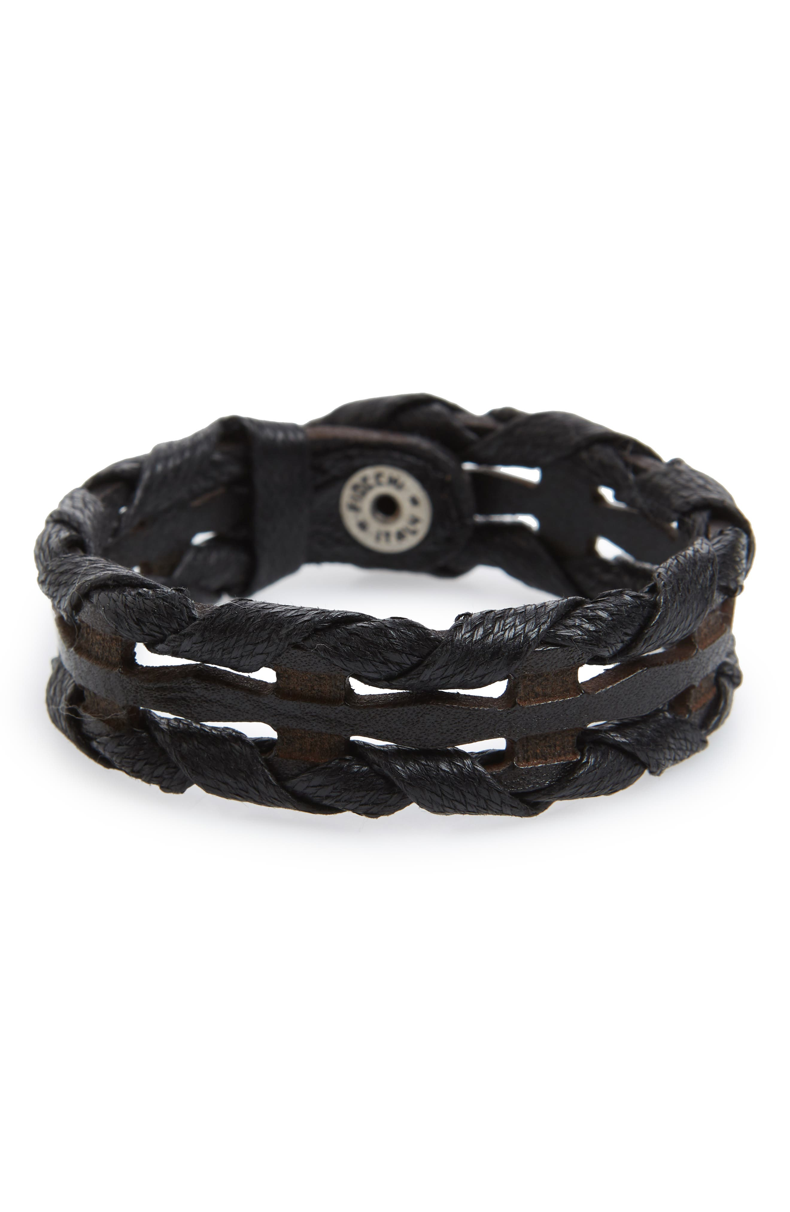Wax Woven Leather Bracelet,                         Main,                         color, Nero