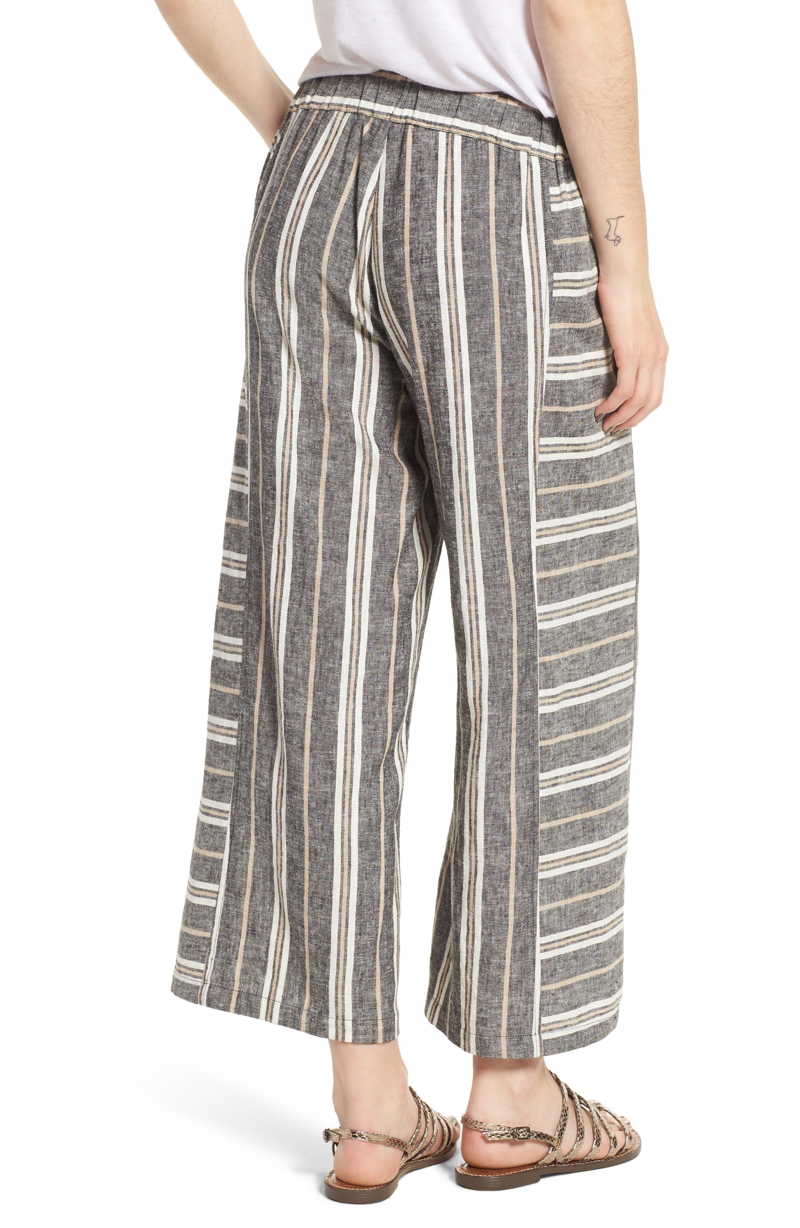Stripe Linen Blend Pants,                             Alternate thumbnail 2, color,                             Black Betsty Stripe