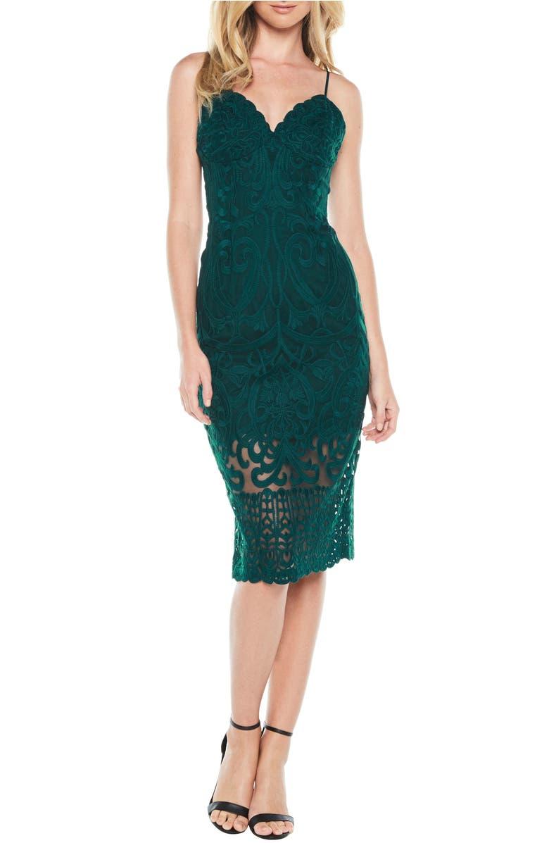 Gia Lace Pencil Dress,                         Main,                         color, Forest