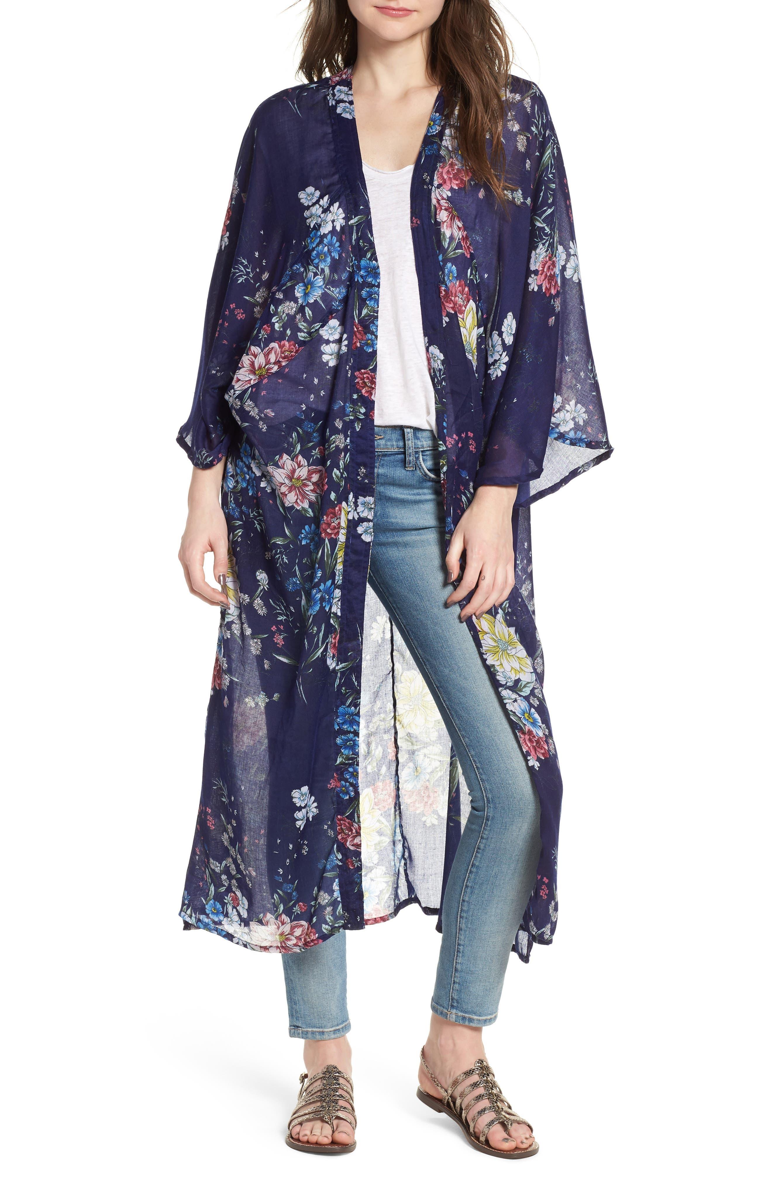 Floral Kimono Duster,                             Main thumbnail 1, color,                             Navy