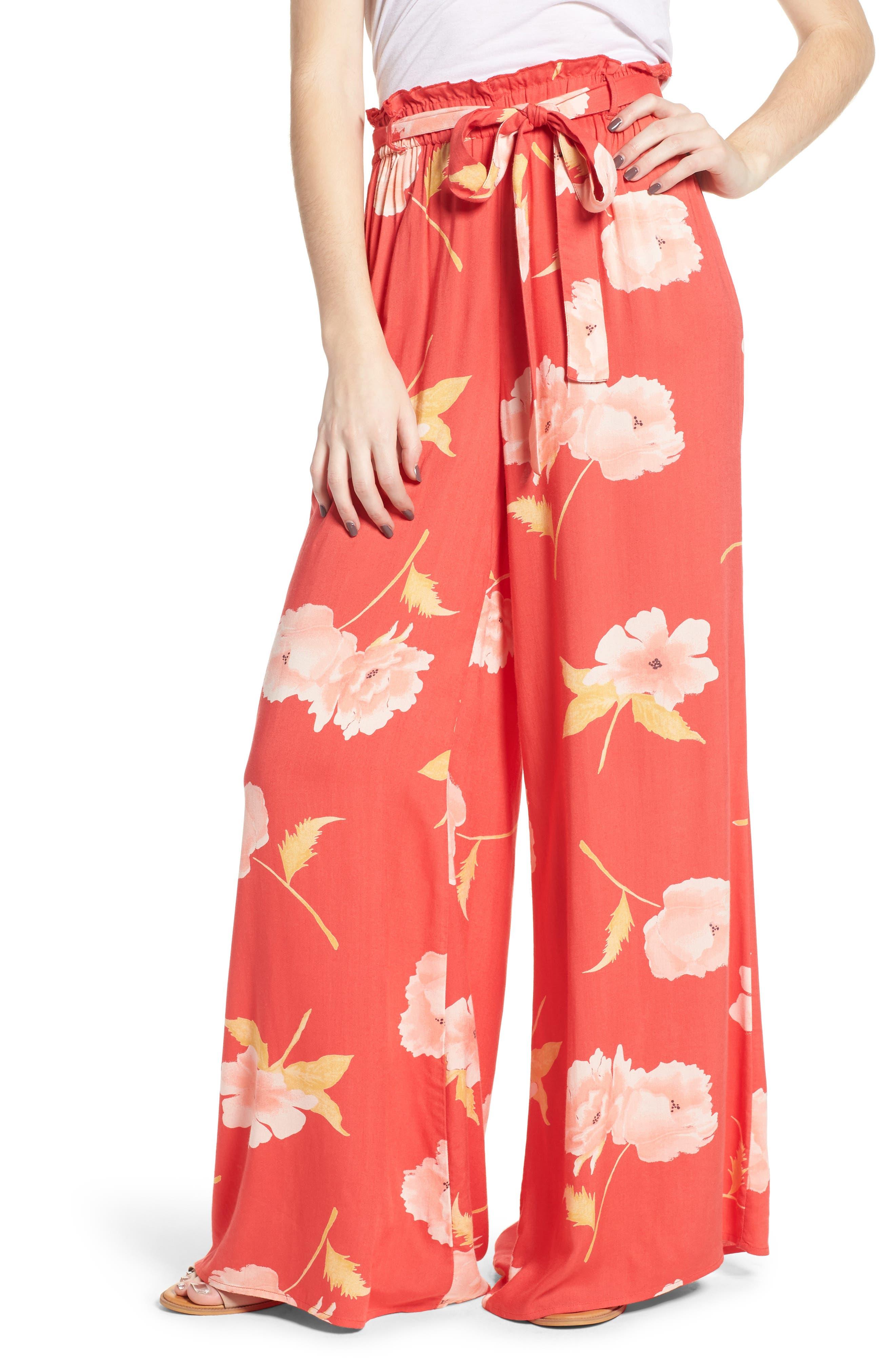 Happy Dance Floral Wide Leg Pants,                         Main,                         color, Ger-Geranium