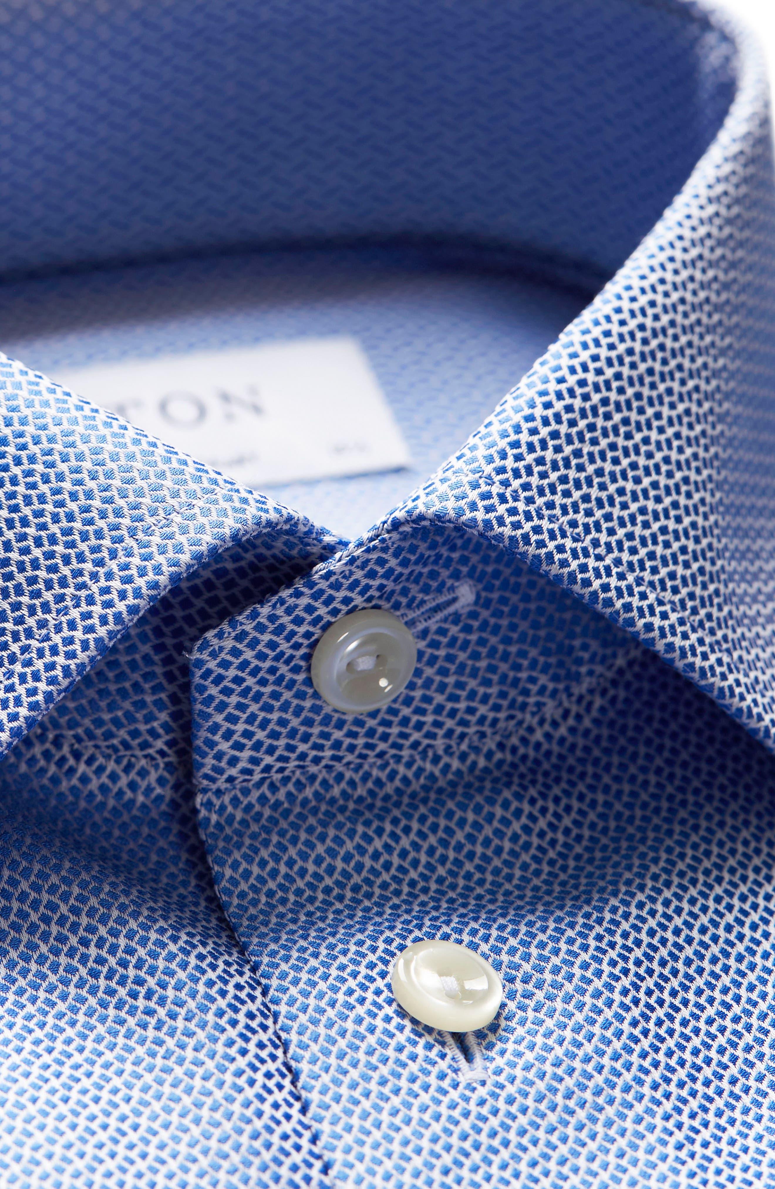 Contemporary Fit Print Dress Shirt,                             Alternate thumbnail 5, color,                             Blue