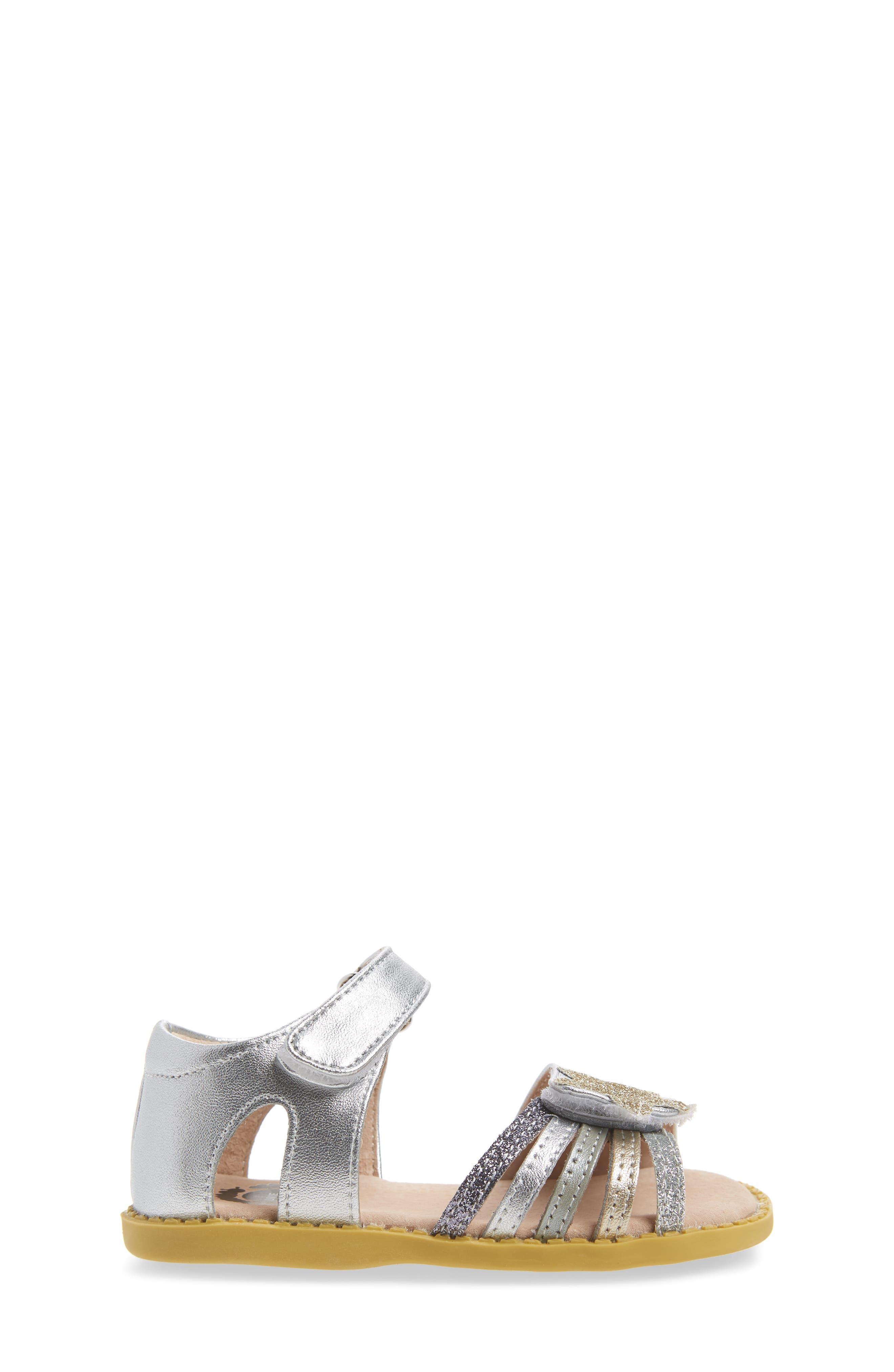 'Nova' Sandal (Baby, Walker & Toddler,                             Alternate thumbnail 3, color,                             Silver Sparkle