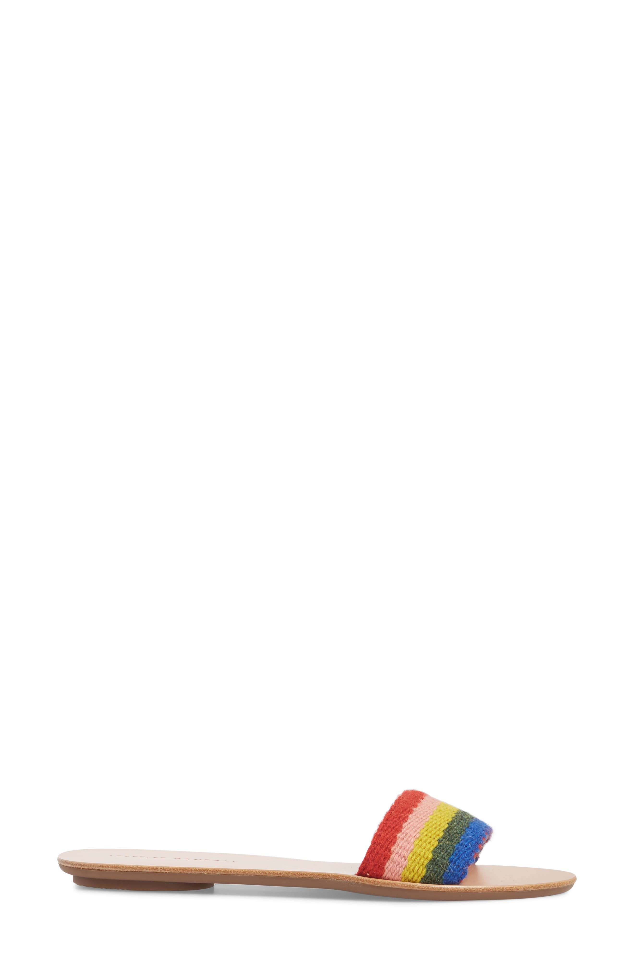 Stella Woven Slide Sandal,                             Alternate thumbnail 3, color,                             Rainbow Fabric