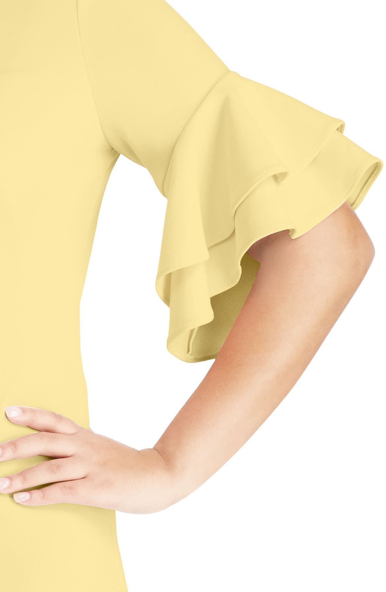 Silvana Ruffle Sleeve Sheath Dress,                             Alternate thumbnail 3, color,                             Island Yellow
