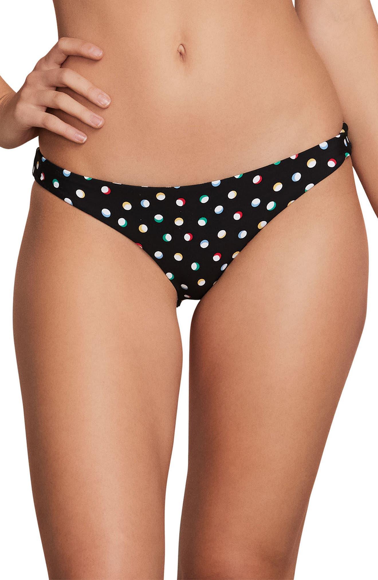 On the Dot Hipster Bikini Bottoms,                             Main thumbnail 1, color,                             Black