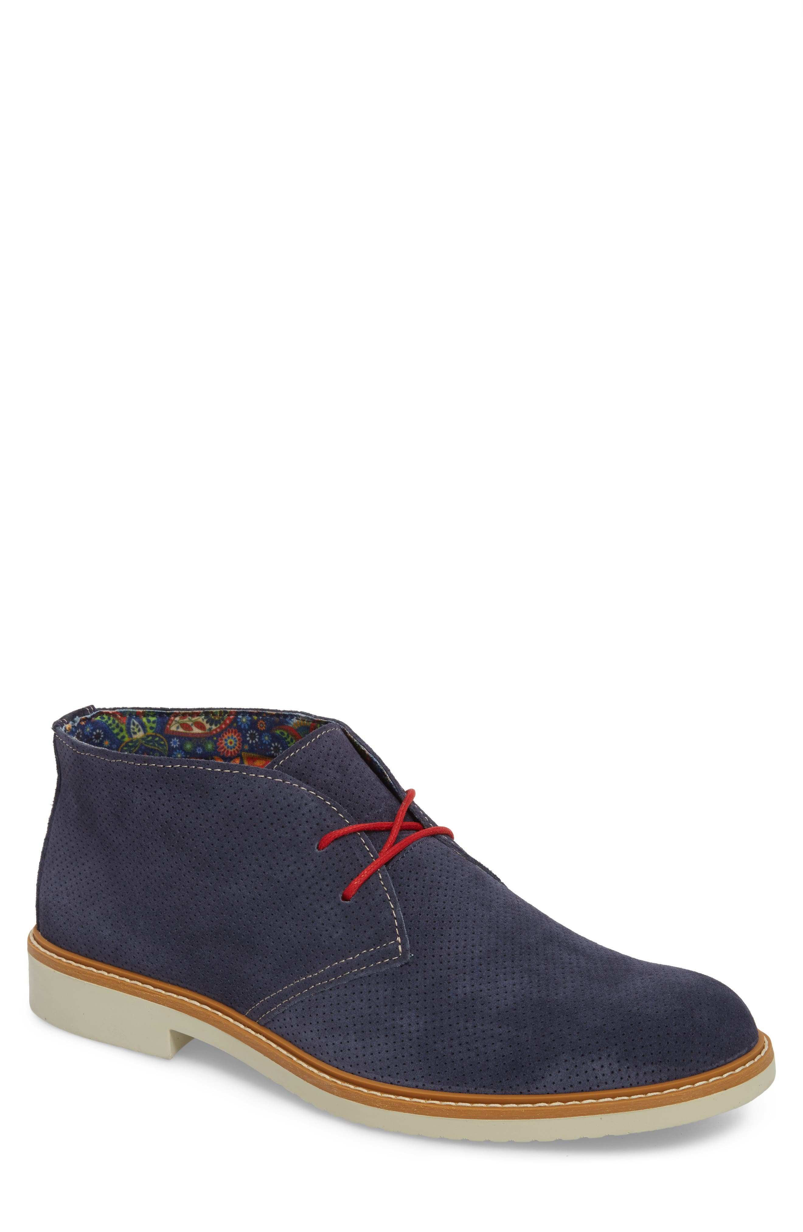 Bayside Perforated Chukka Boot,                             Main thumbnail 1, color,                             Blue Suede
