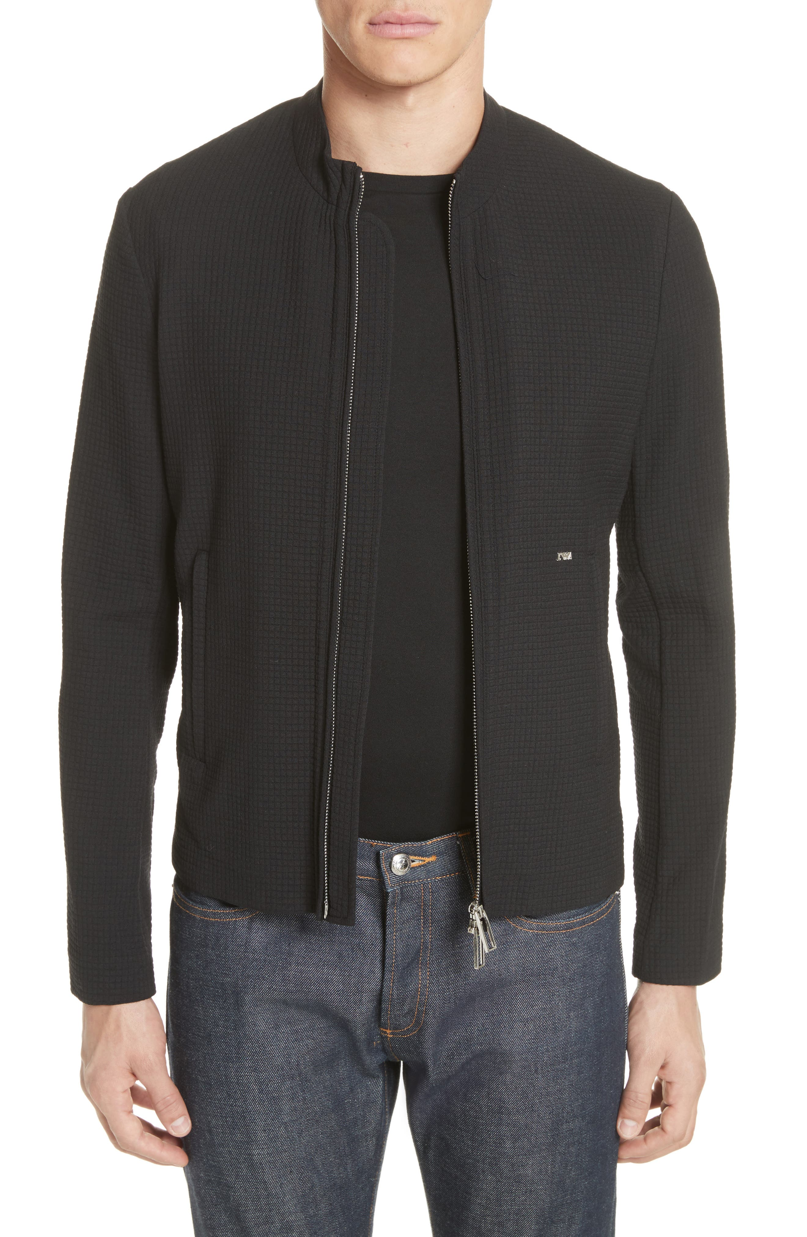 Ripstop Check Wool Blend Jacket,                         Main,                         color, Nero