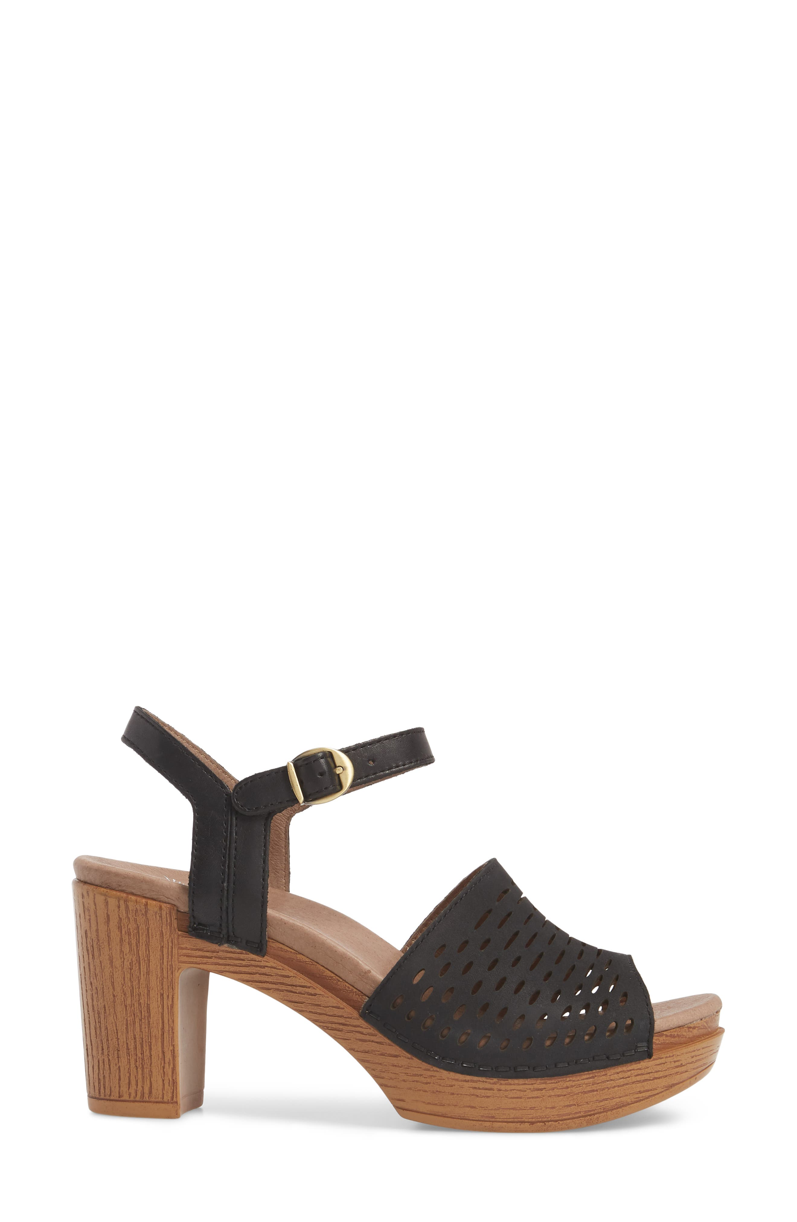 Denita Block Heel Sandal,                             Alternate thumbnail 3, color,                             Black Milled Nubuck Leather