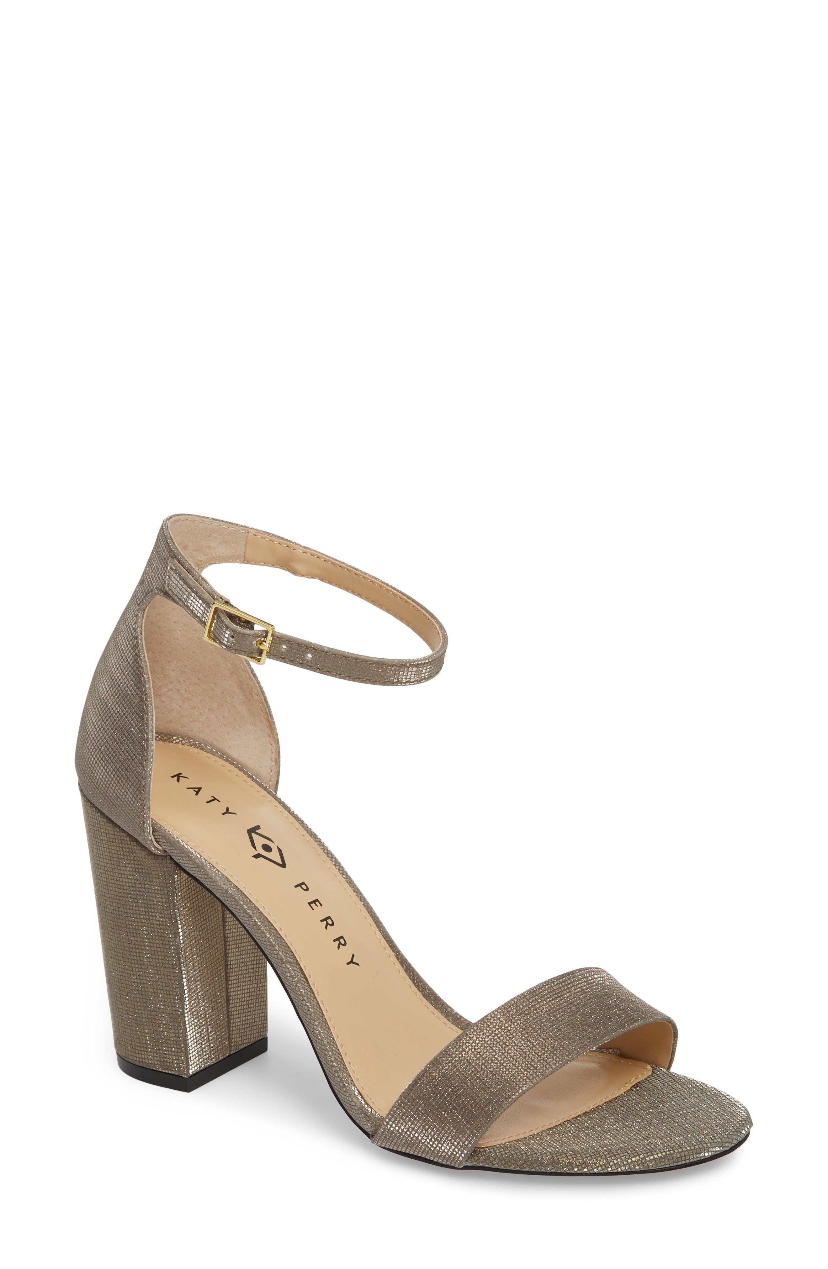 Ankle Strap Sandal,                         Main,                         color, Dark Gold Fabric