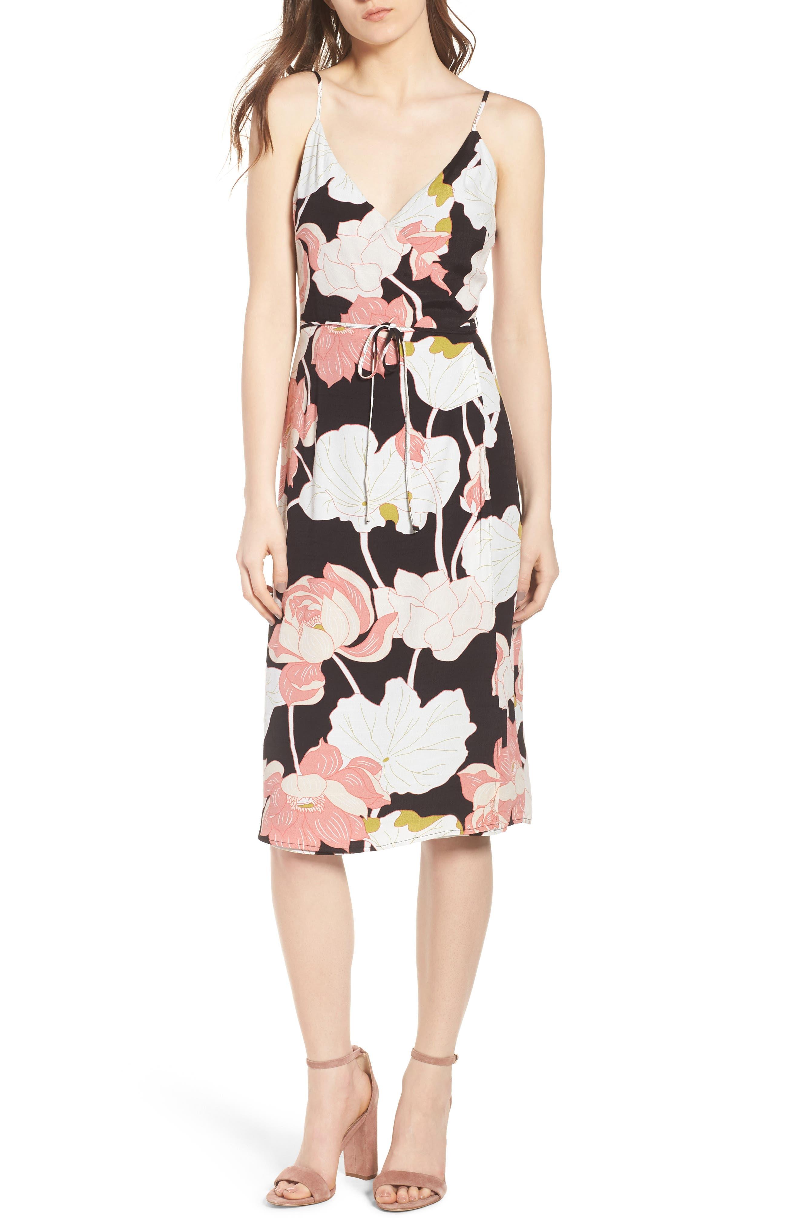 Chayene Water Lilies Wrap Dress,                         Main,                         color, Black