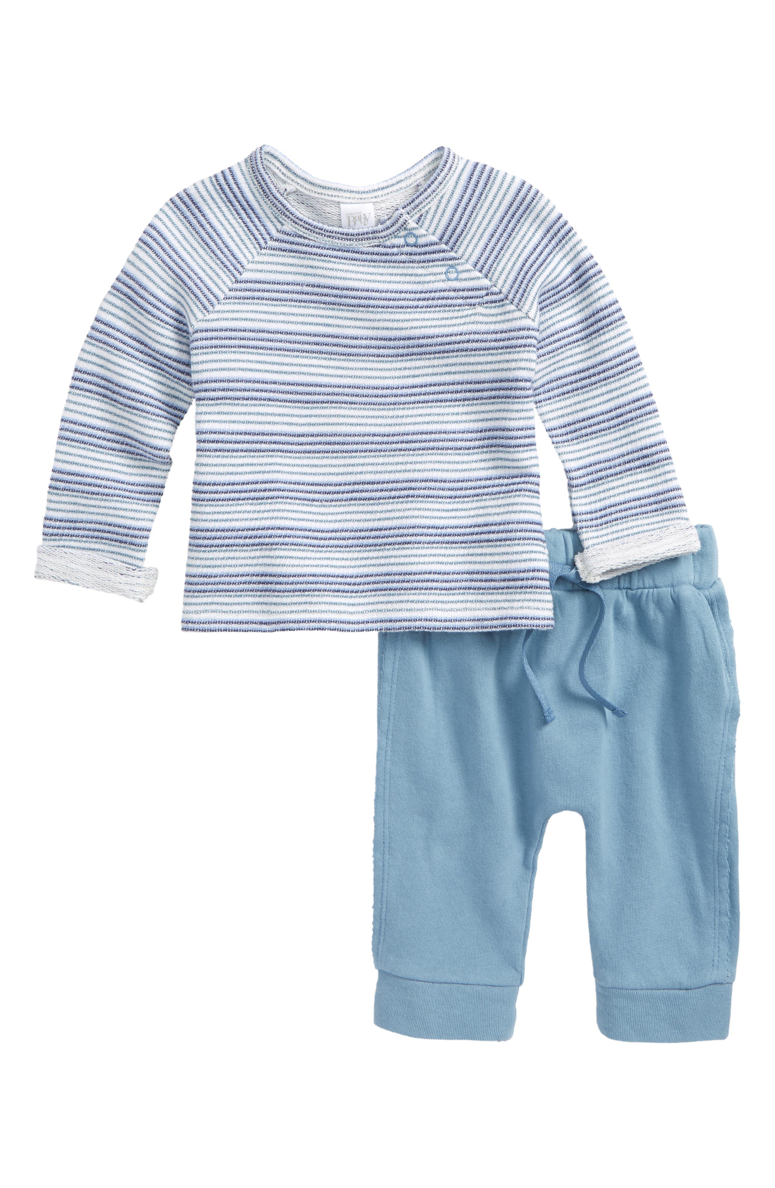 Knit Top & Pants Set,                             Main thumbnail 1, color,                             Blue Captain Beach Stripe