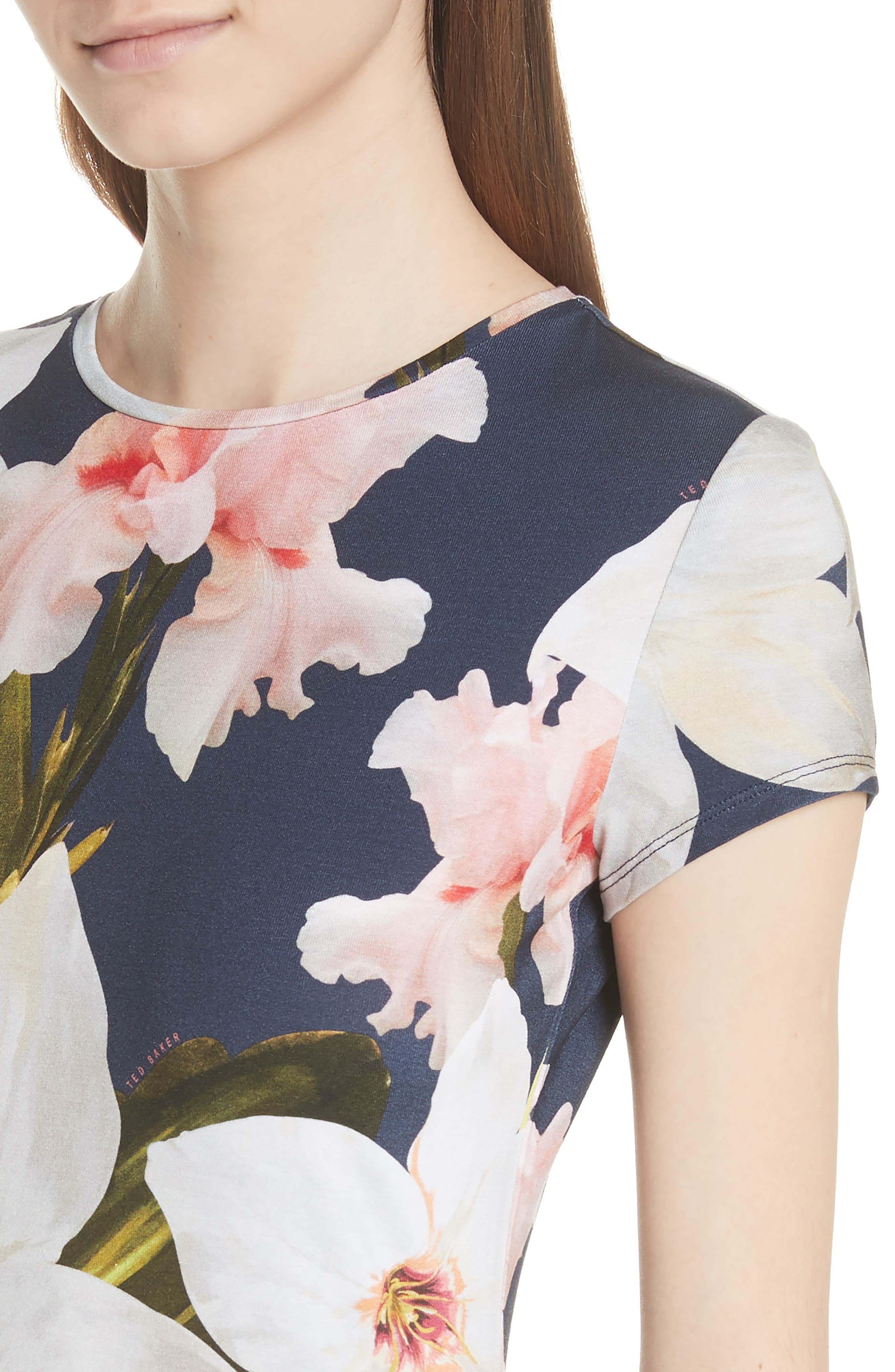 Chatsworth Bloom Fitted Tee,                             Alternate thumbnail 4, color,                             Navy