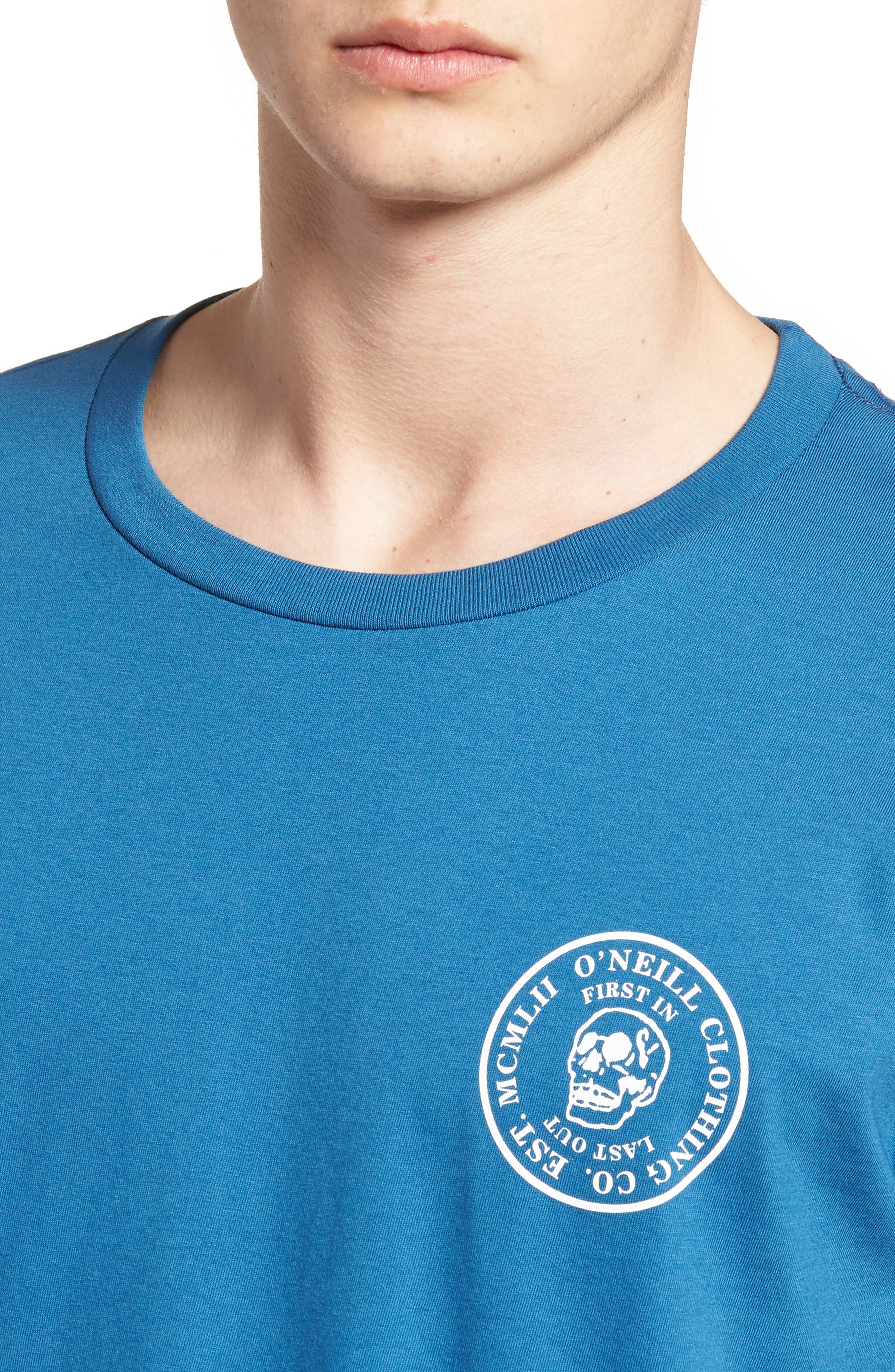 Skully Graphic T-Shirt,                             Alternate thumbnail 4, color,                             Air Force Blue