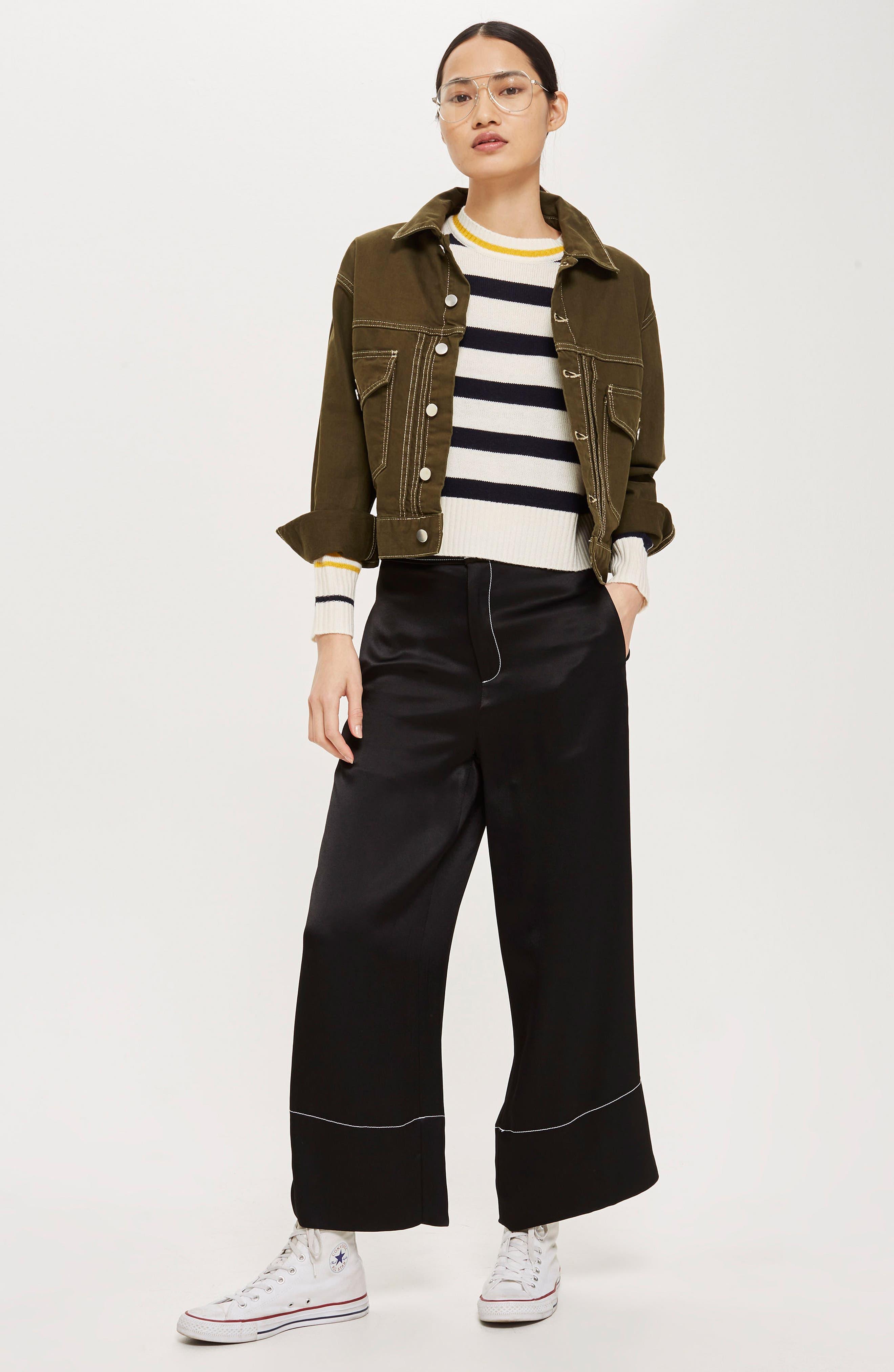 Slouchy Stripe Sweater,                             Alternate thumbnail 3, color,                             Navy Blue Multi