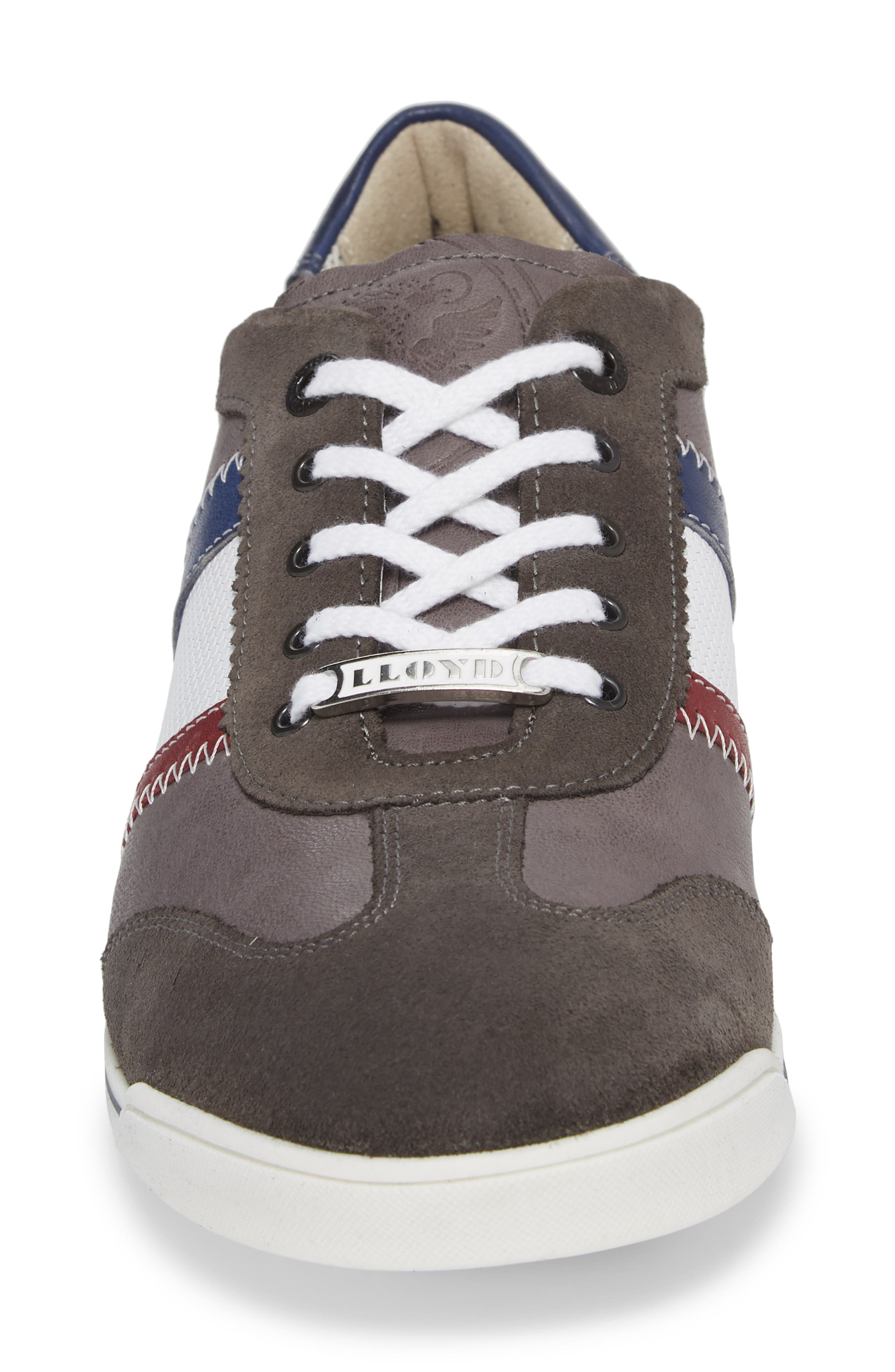 Aaron Low Top Sneaker,                             Alternate thumbnail 4, color,                             Grey Leather/ Suede