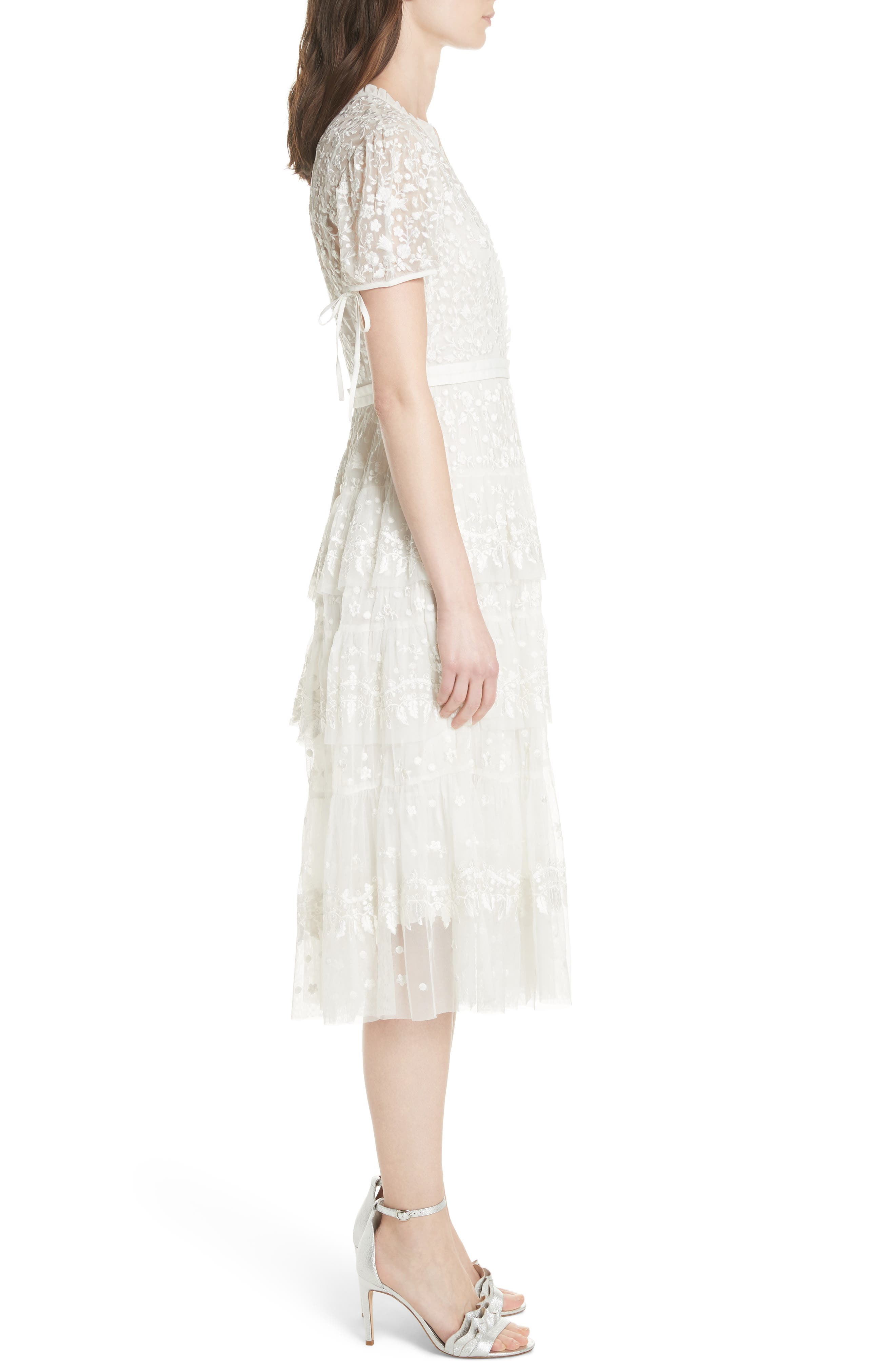 Layered Lace Dress,                             Alternate thumbnail 3, color,                             Ivory