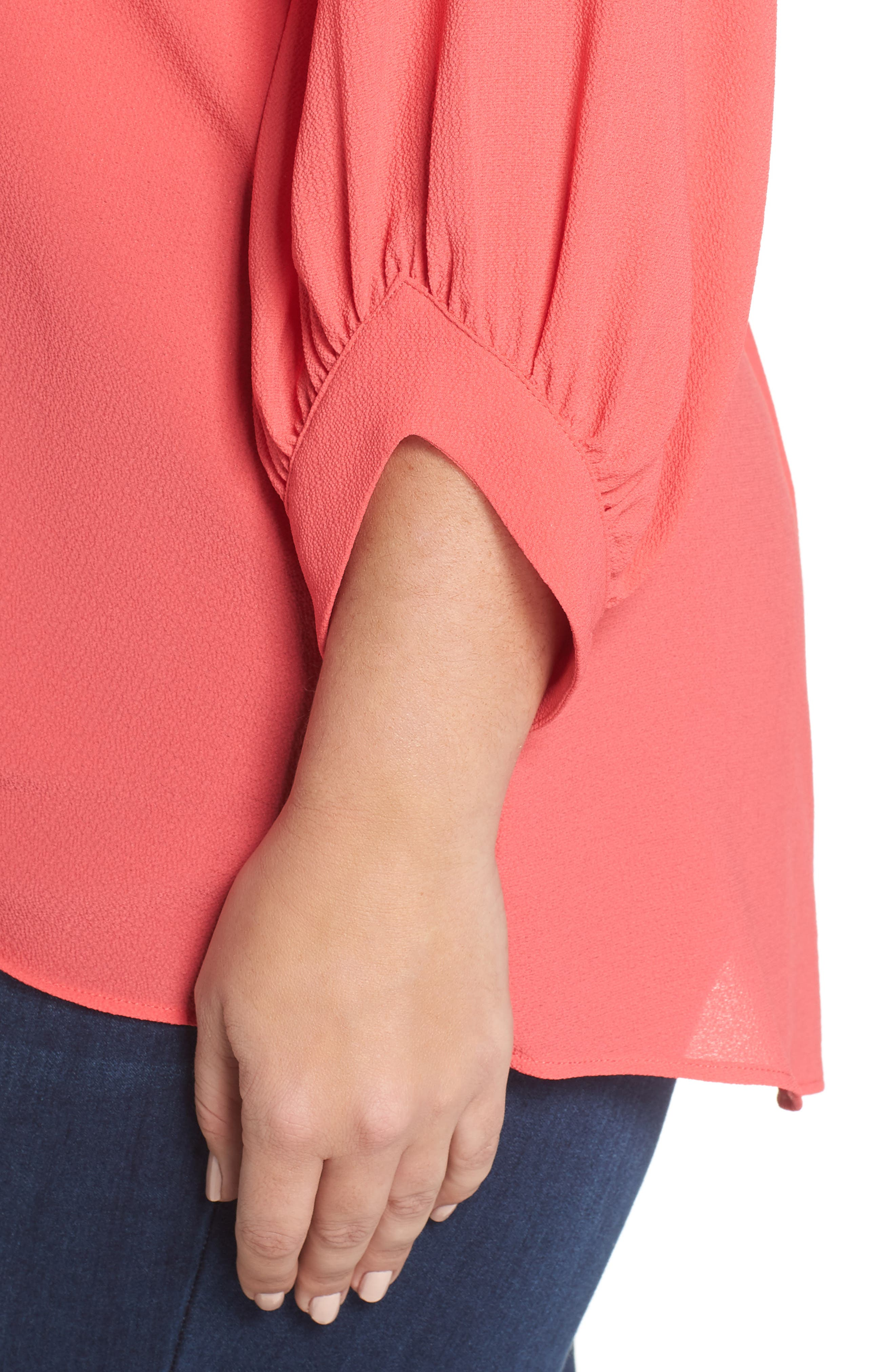 x Living in Yellow Maggie Twist Hem Top,                             Alternate thumbnail 6, color,                             Poppy