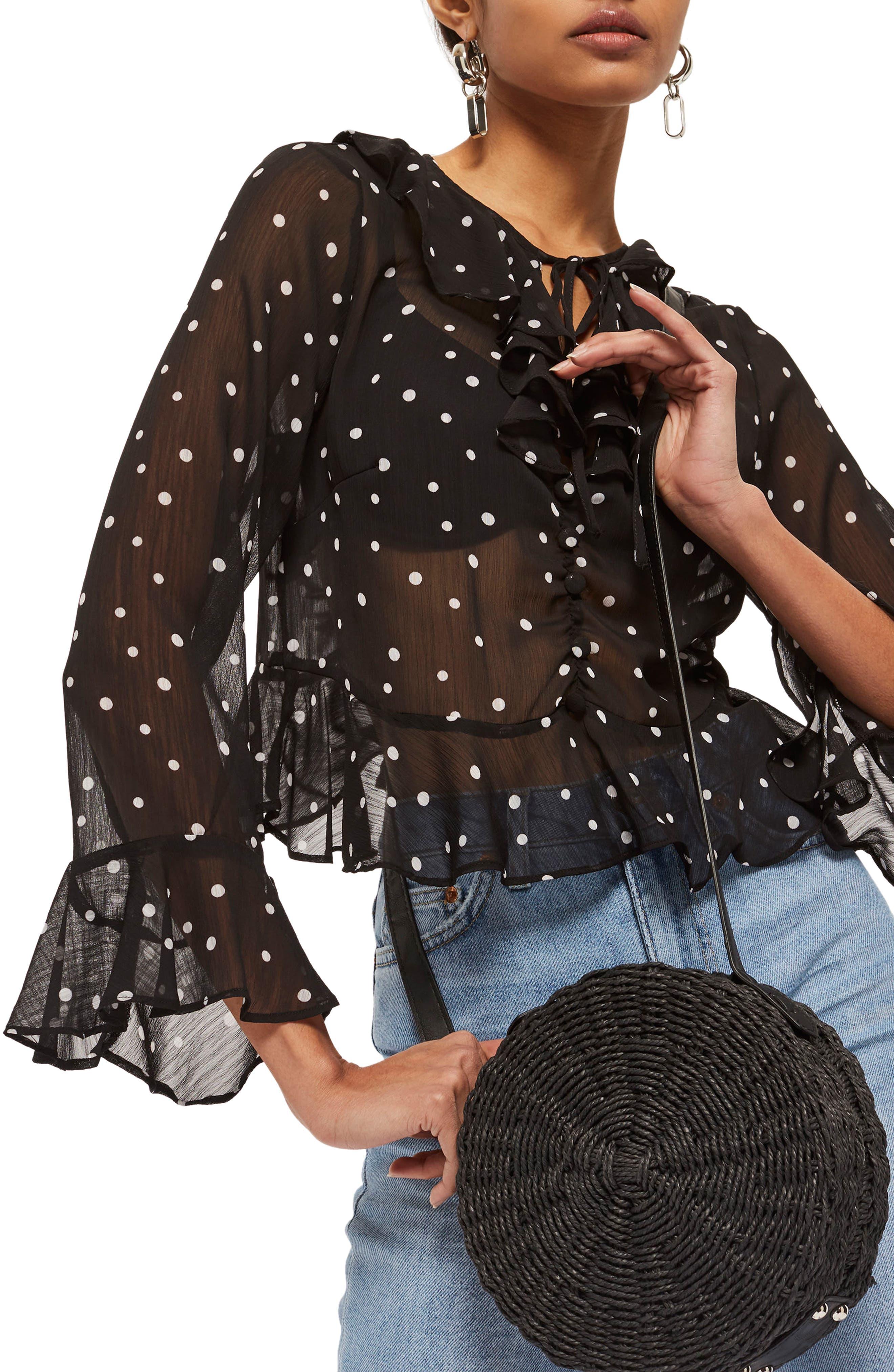 Roxy Dot Ruffle Blouse,                         Main,                         color, Black Multi