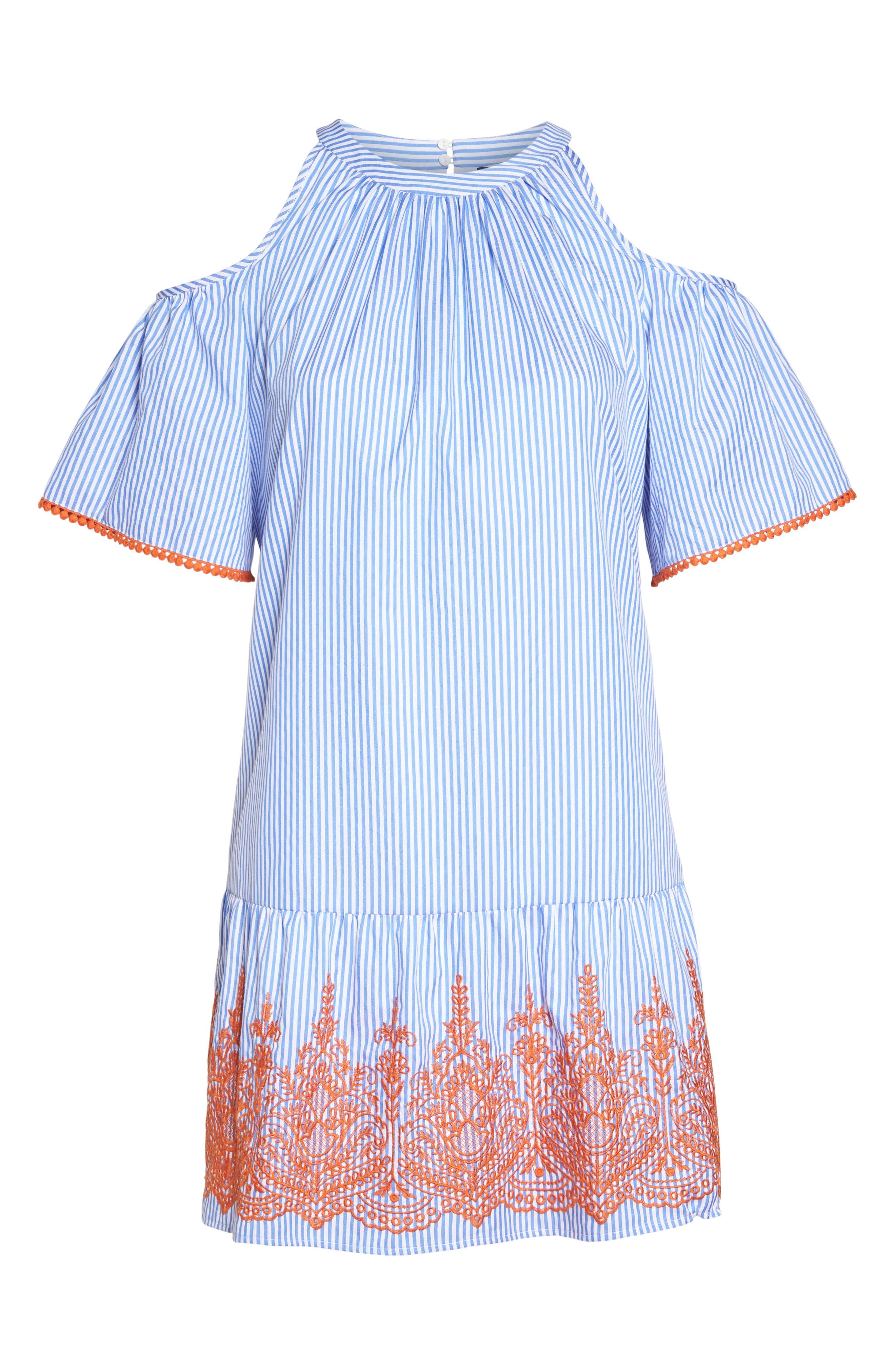 Embroidered Stripe Cold Shoulder Shift Dress,                             Alternate thumbnail 6, color,                             Blue/ White/ Orange