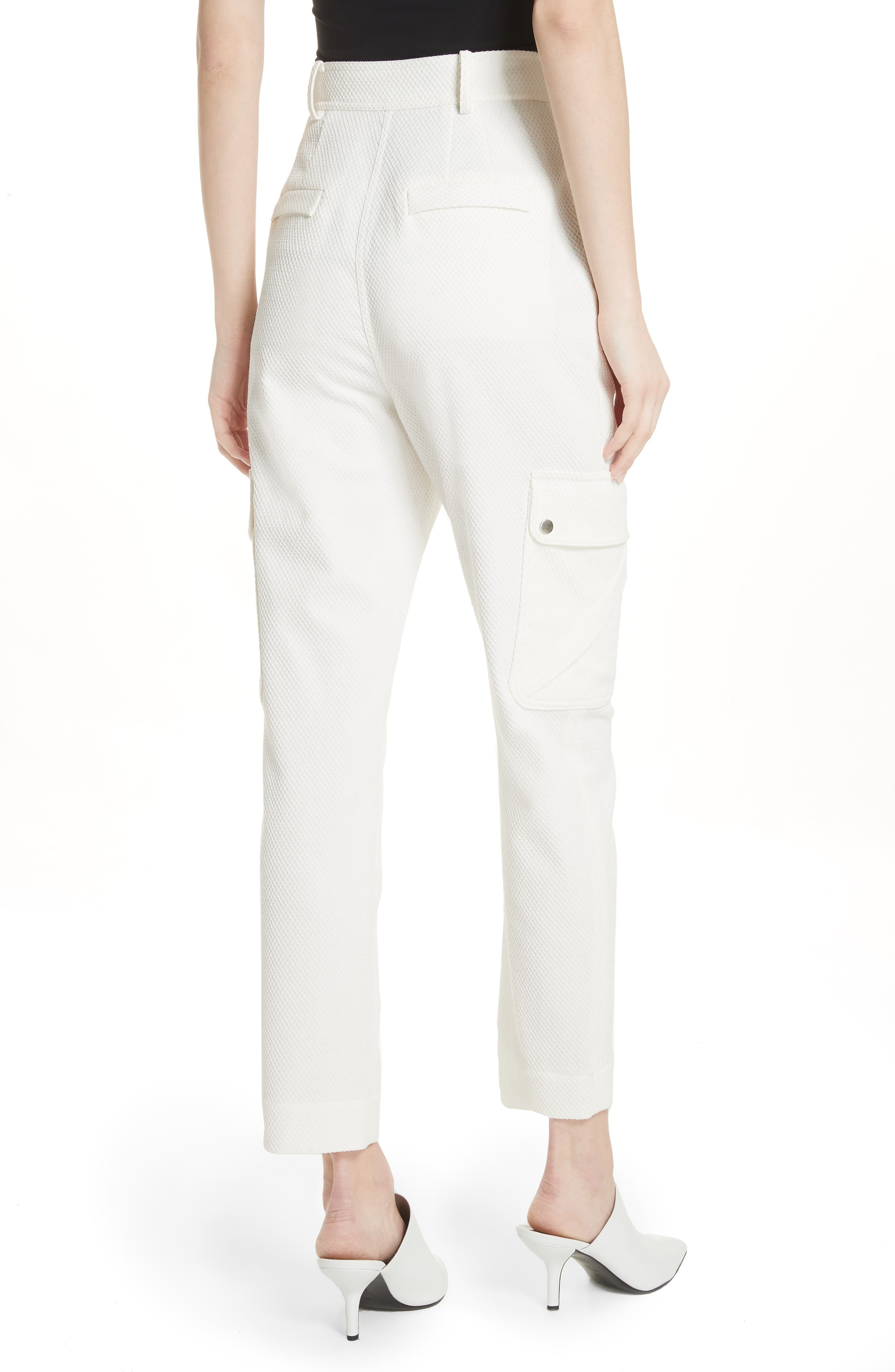 Textured Stretch Cotton Blend Utility Pants,                             Alternate thumbnail 2, color,                             Soft White