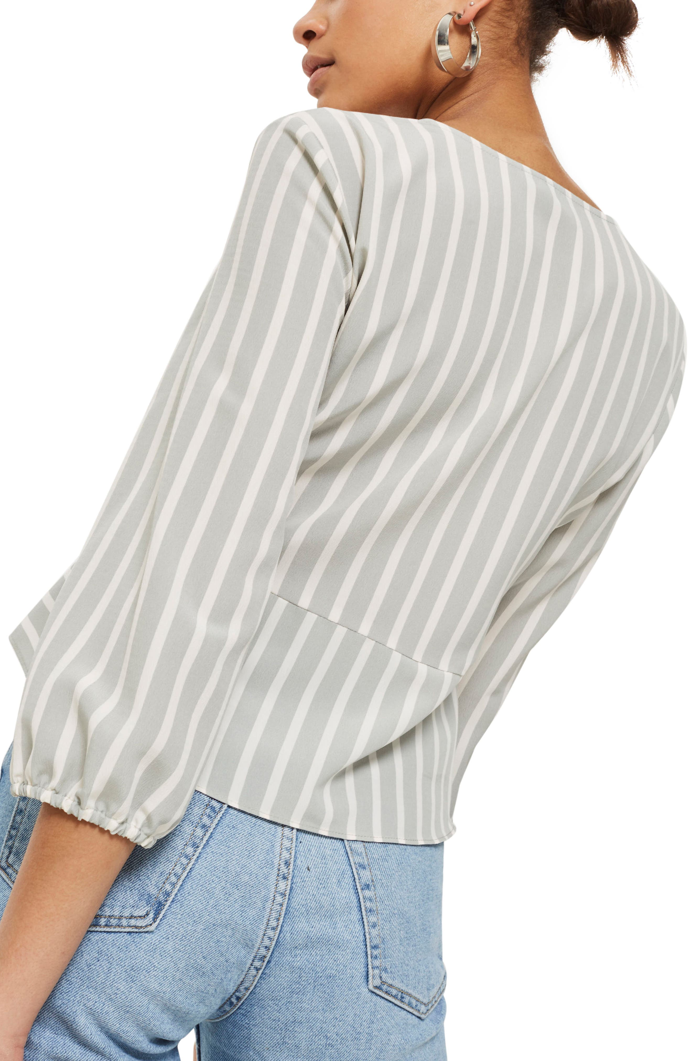 Betty Stripe Ruched Keyhole Blouse,                             Alternate thumbnail 3, color,                             Grey
