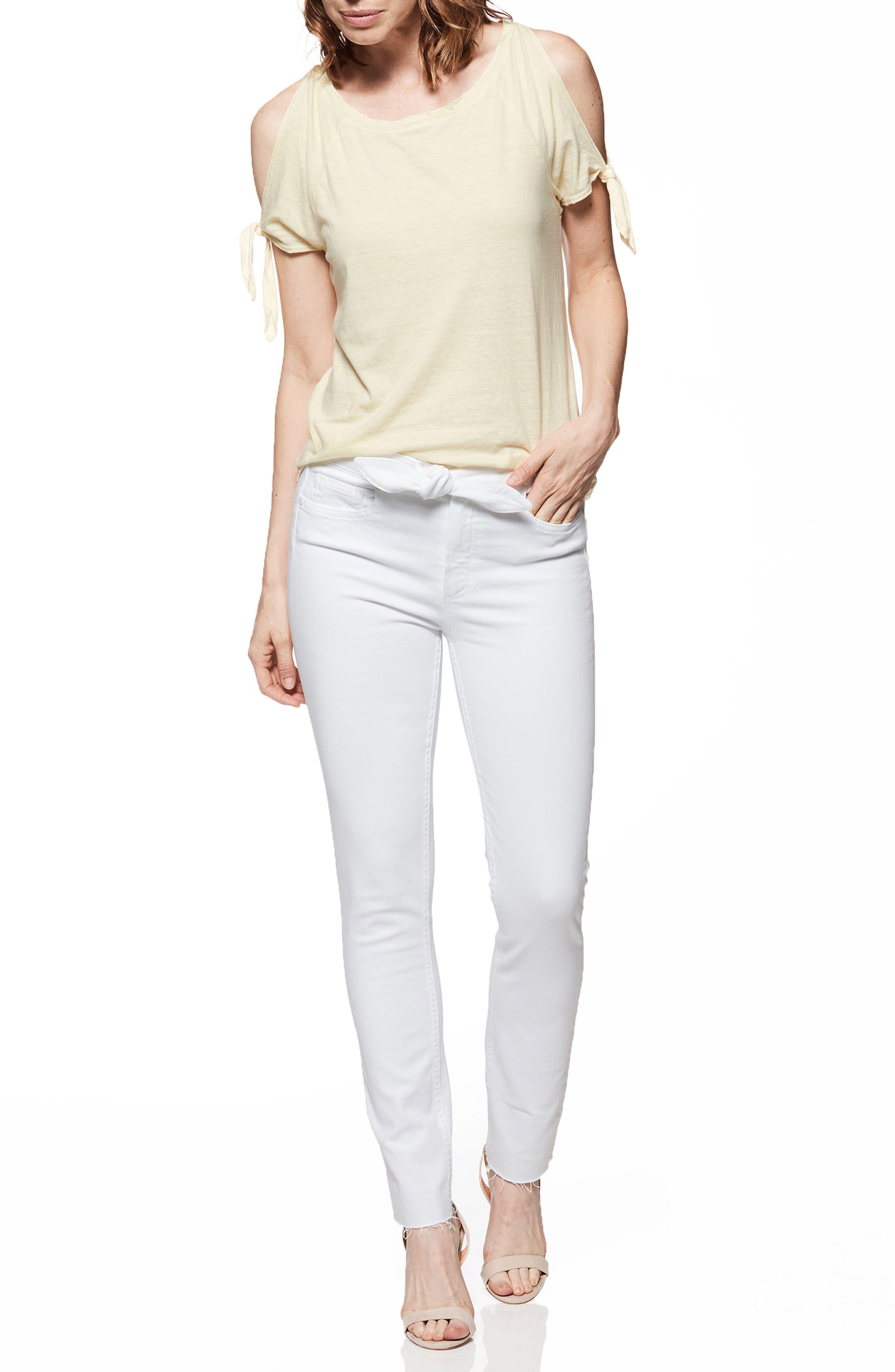 Hoxton High Waist Ankle Skinny Jeans,                             Alternate thumbnail 3, color,                             Crisp White