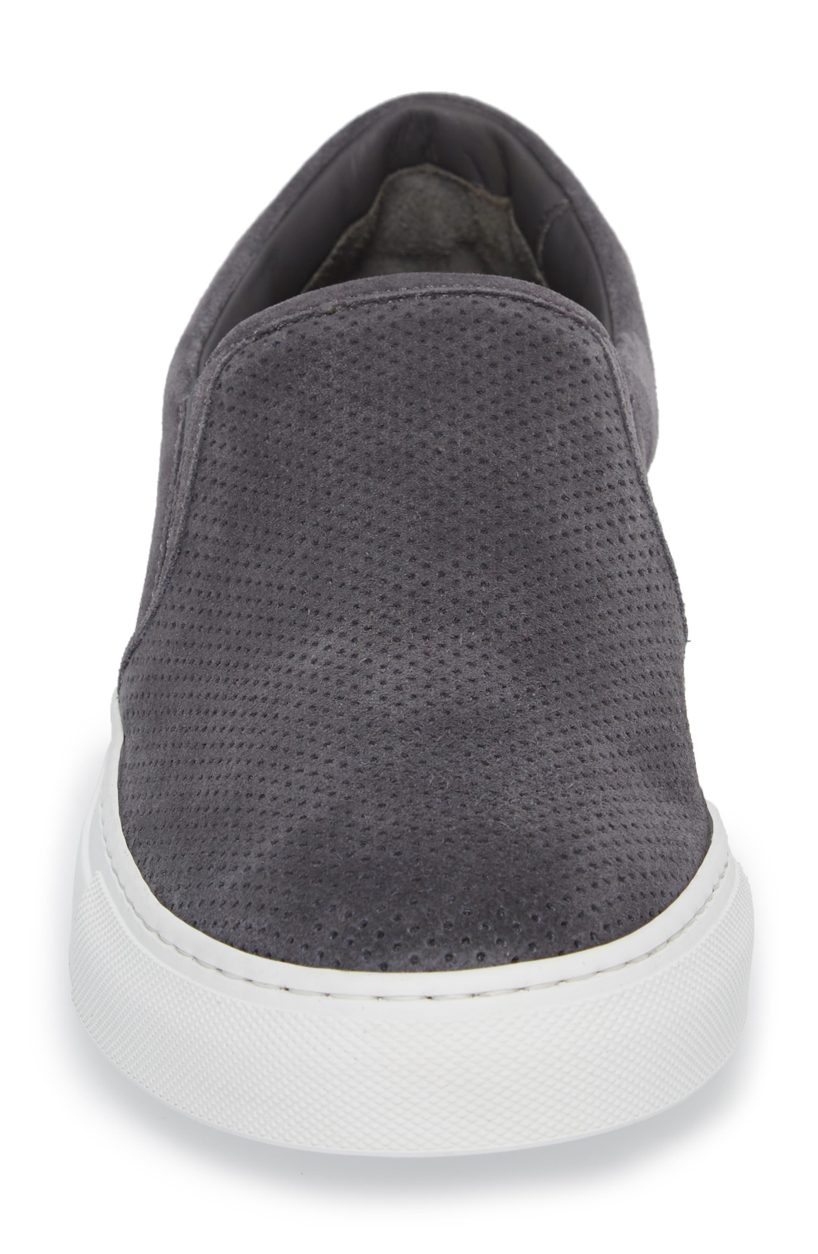 Buelton Perforated Slip-On Sneaker,                             Alternate thumbnail 4, color,                             Avion/ Tan Suede