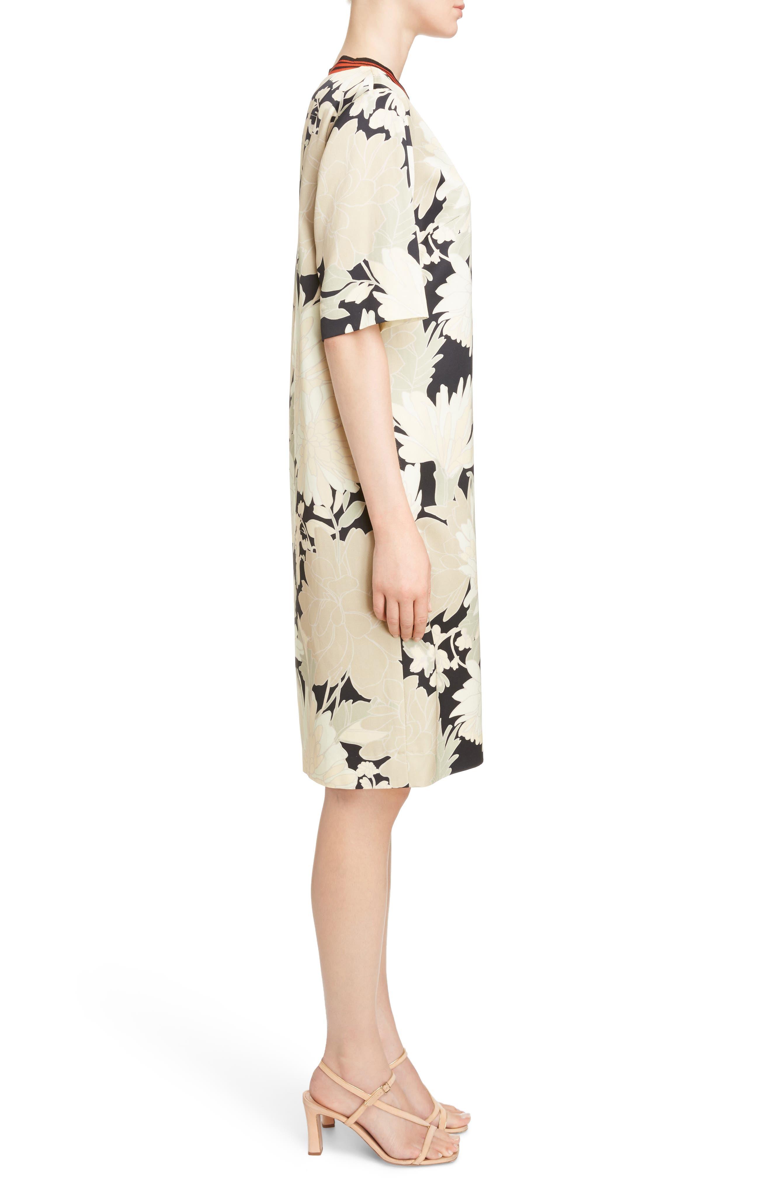 Knit Trim Floral Dress,                             Alternate thumbnail 3, color,                             Black
