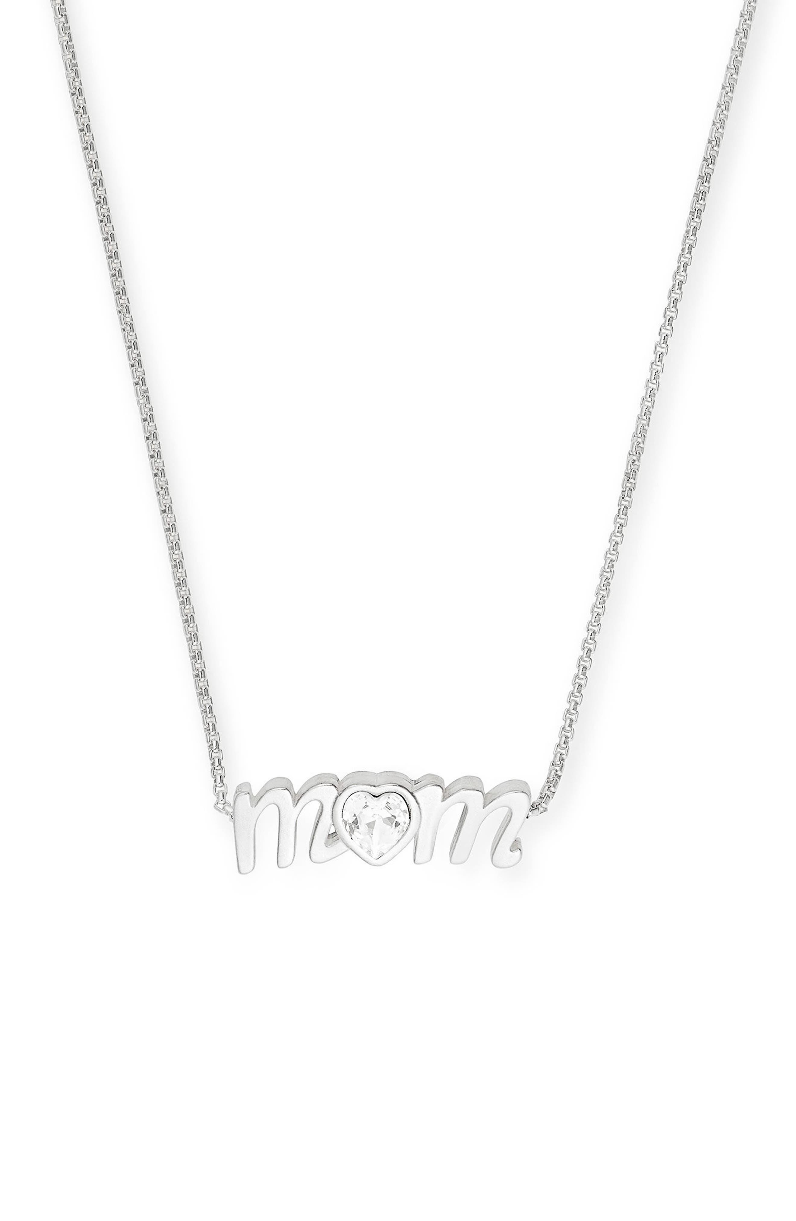 Mom Necklace,                         Main,                         color, Silver