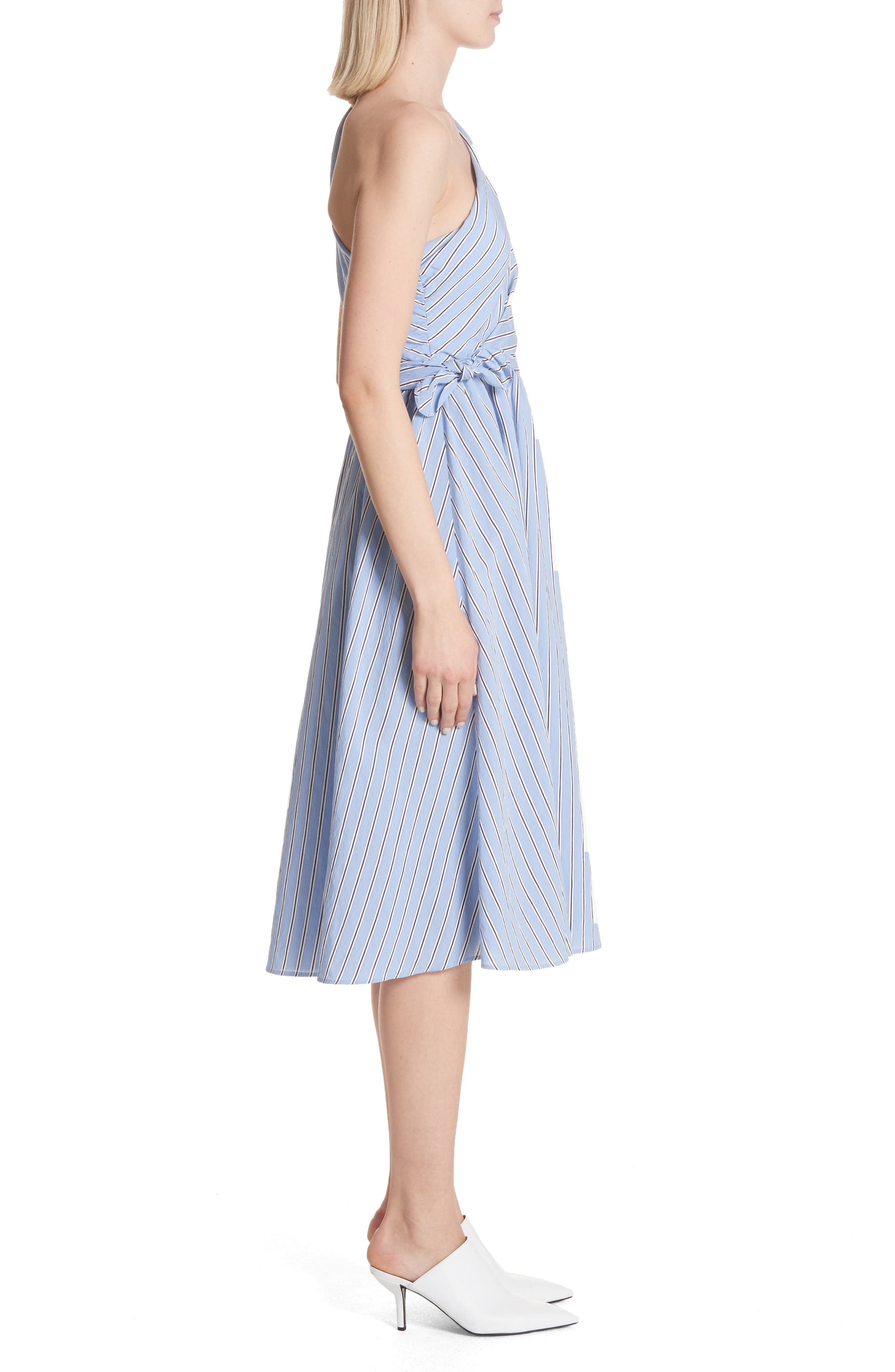 Cabrera Stripe One-Shoulder Dress,                             Alternate thumbnail 3, color,                             Olxford Blue