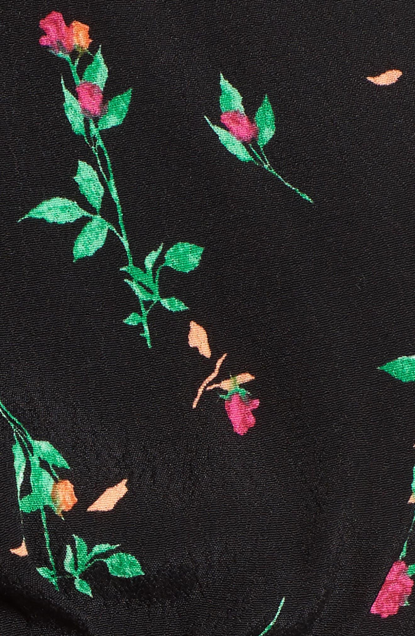 Axel Smocked Top,                             Alternate thumbnail 6, color,                             Noir Rose Ditsy