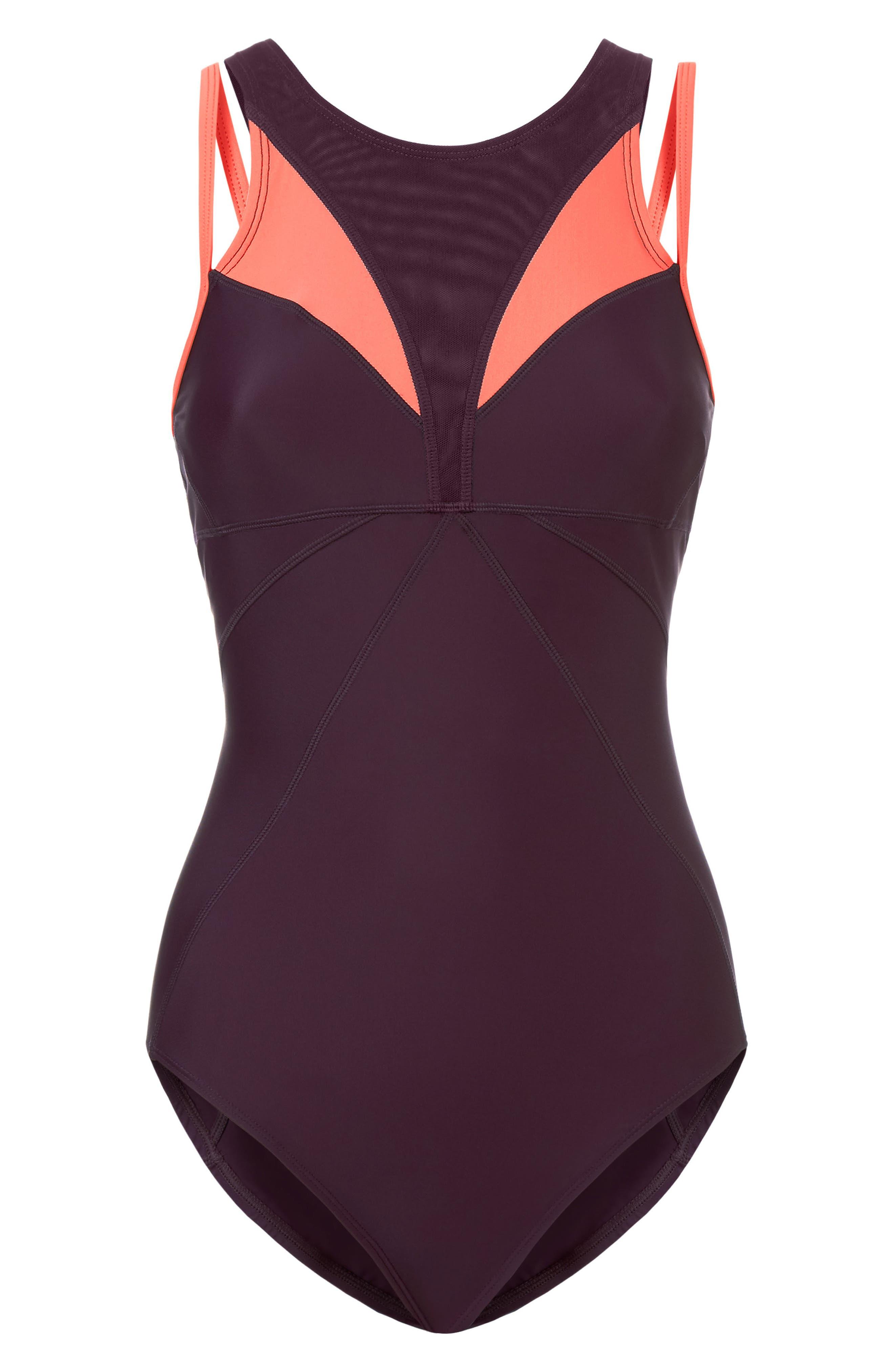 Free Dive One-Piece Swimsuit,                             Alternate thumbnail 6, color,                             Oxblood/ Denim Color Block