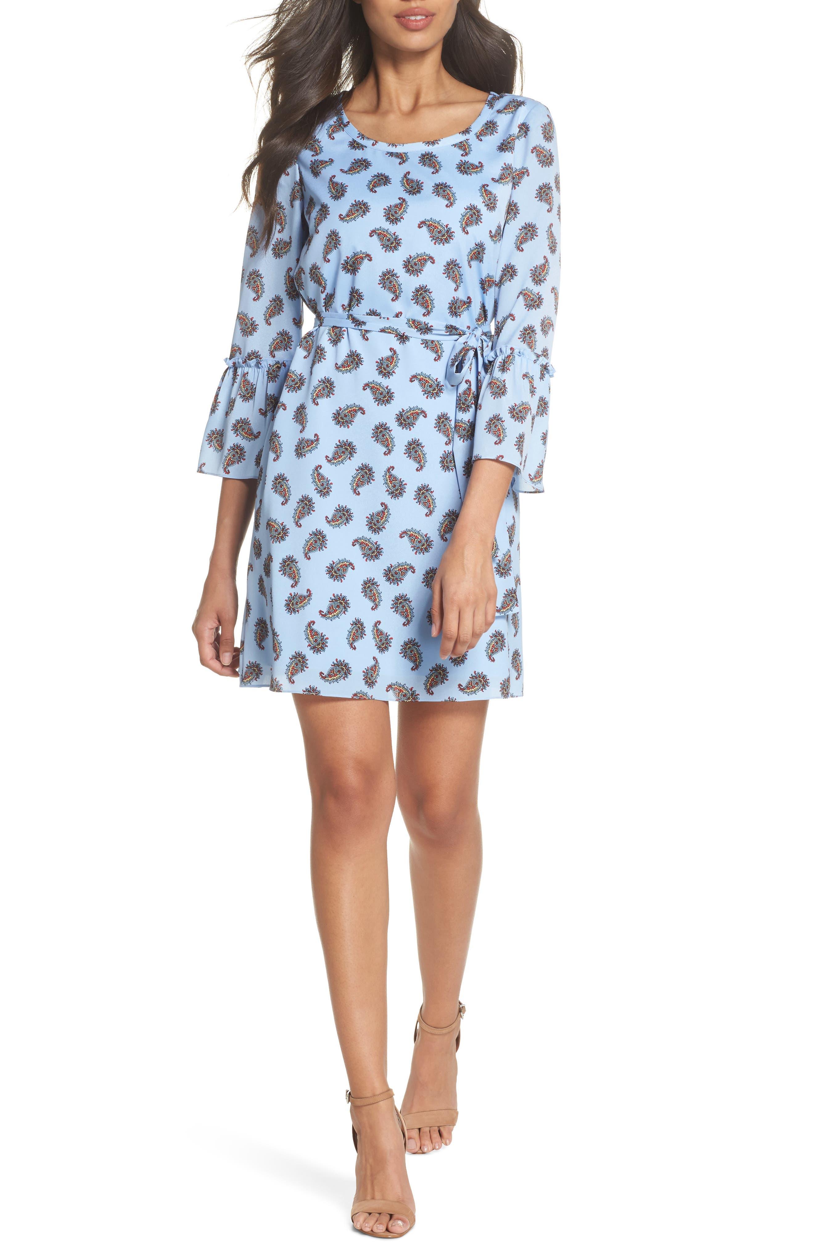 Orli Paisley Print Bell Sleeve Dress,                         Main,                         color, Blue Multi