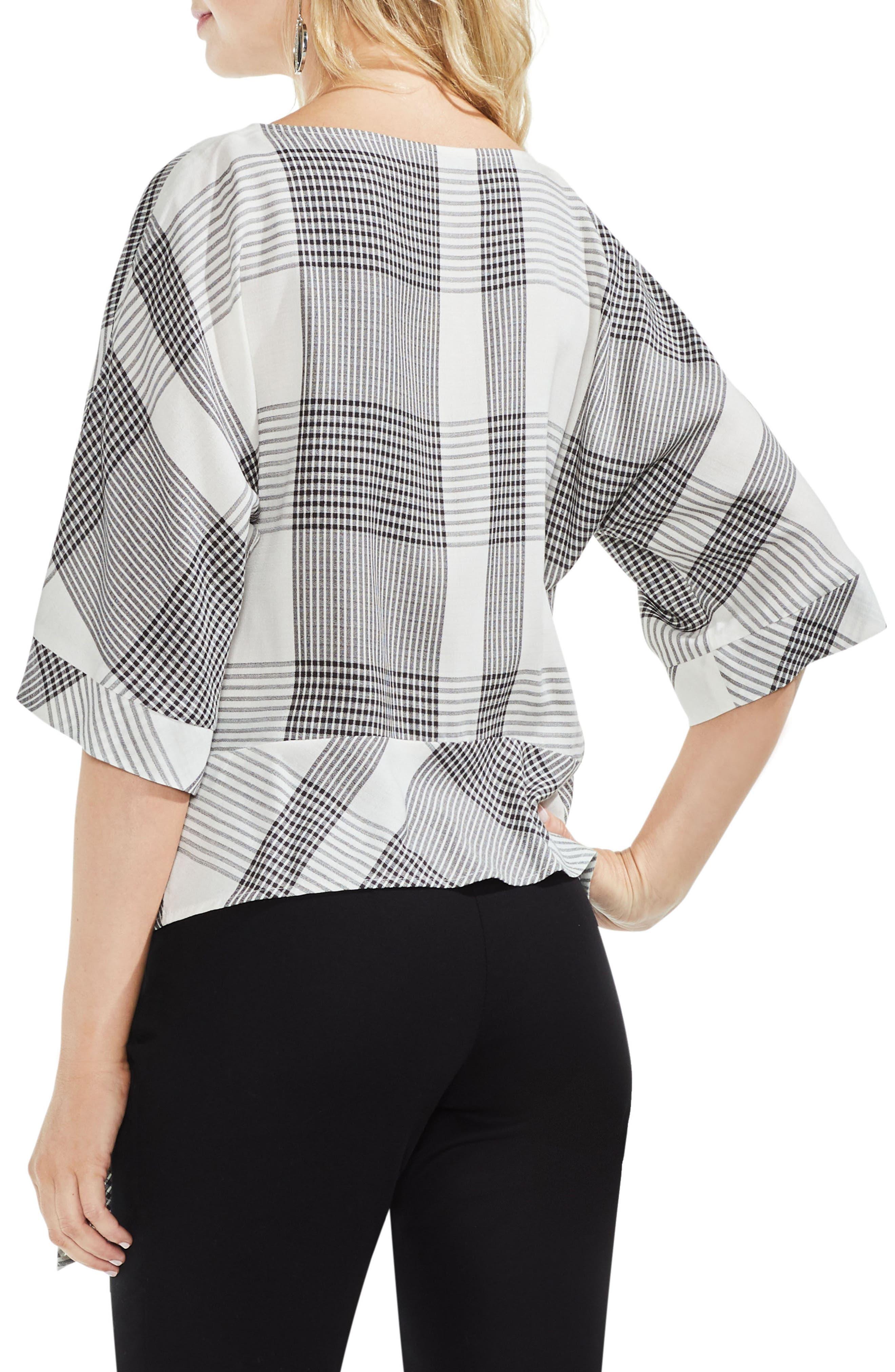 Oversize Plaid Dolman Sleeve Side Tie Top,                             Alternate thumbnail 2, color,                             Rich Black