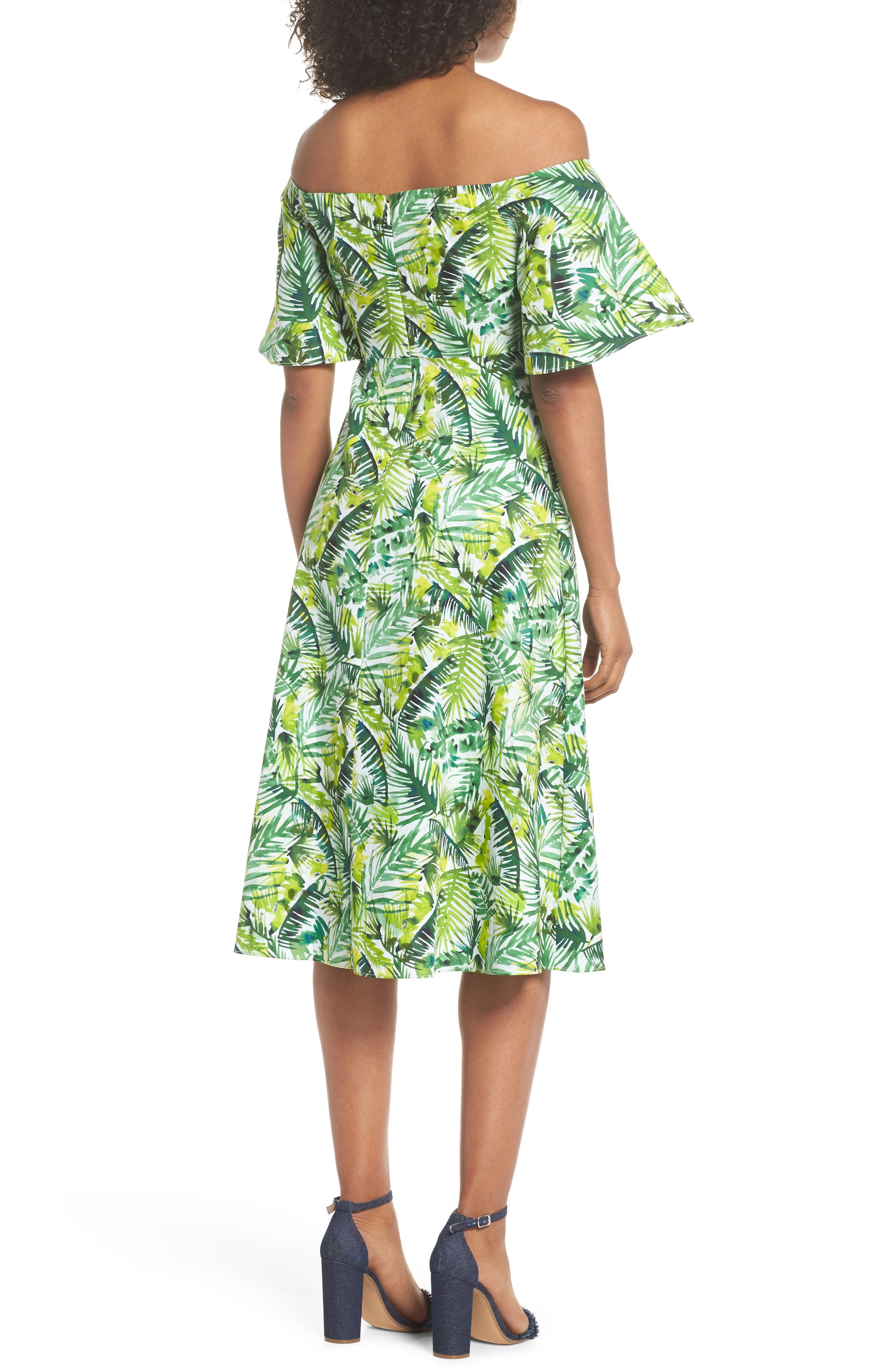Palm Print Off the Shoulder Dress,                             Alternate thumbnail 2, color,                             Soft White/ Green