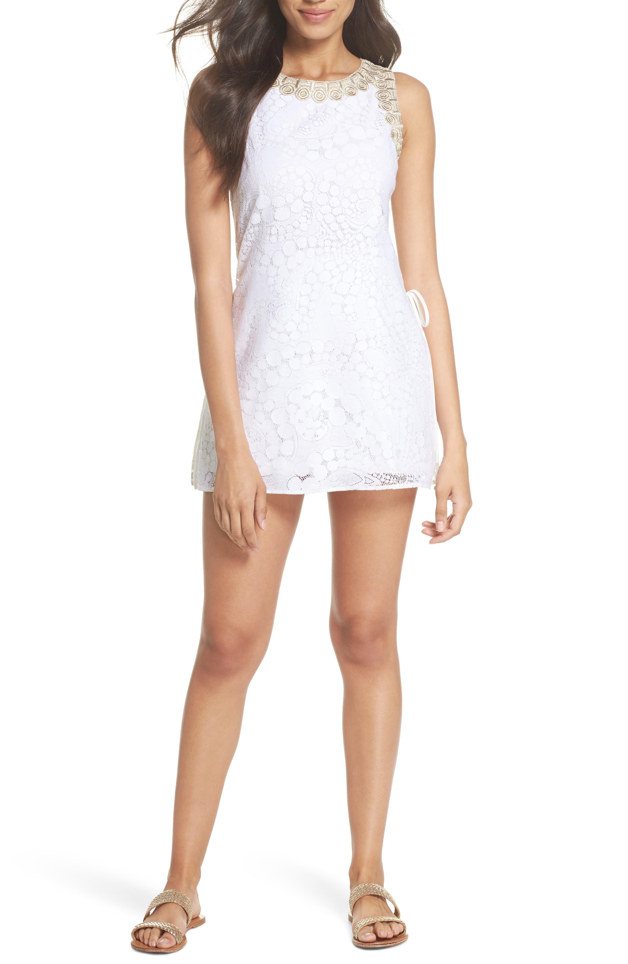 Donna Lace Romper,                         Main,                         color, Resort White Mocean Lace