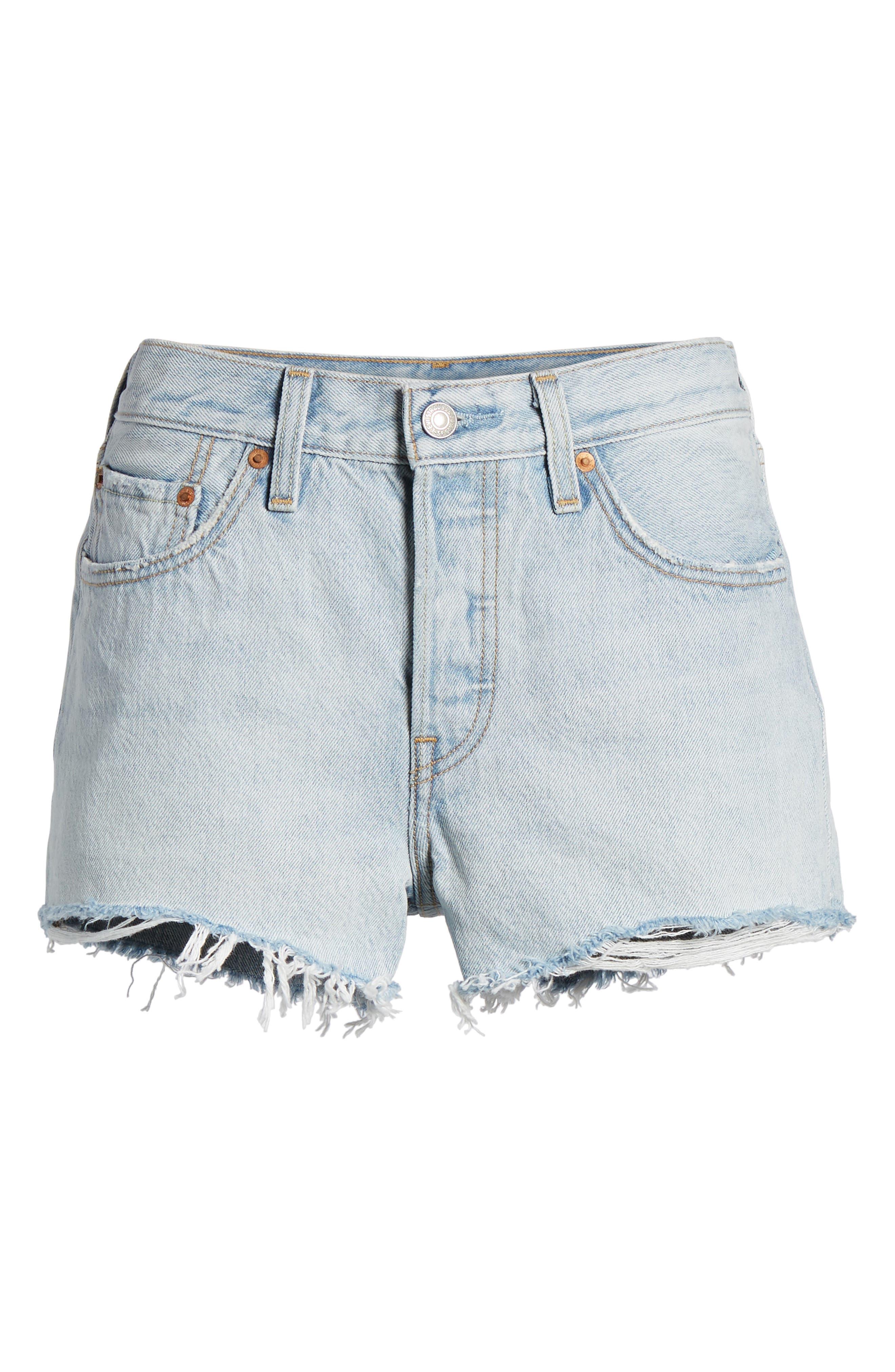 501<sup>®</sup> Cutoff Denim Shorts,                             Alternate thumbnail 6, color,                             Bleached Authentic