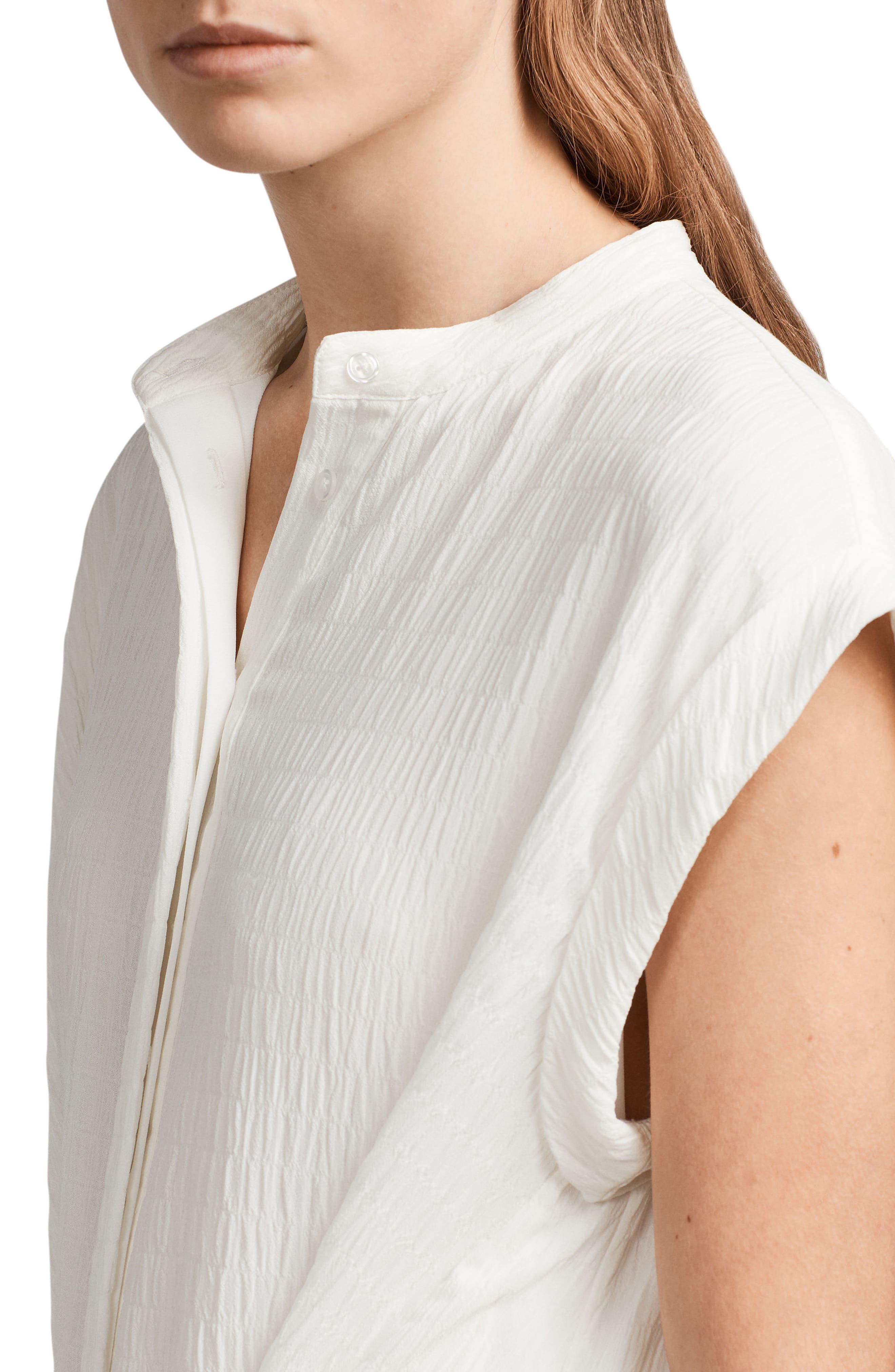 Meda Textured Shirtdress,                             Alternate thumbnail 4, color,                             Chalk White