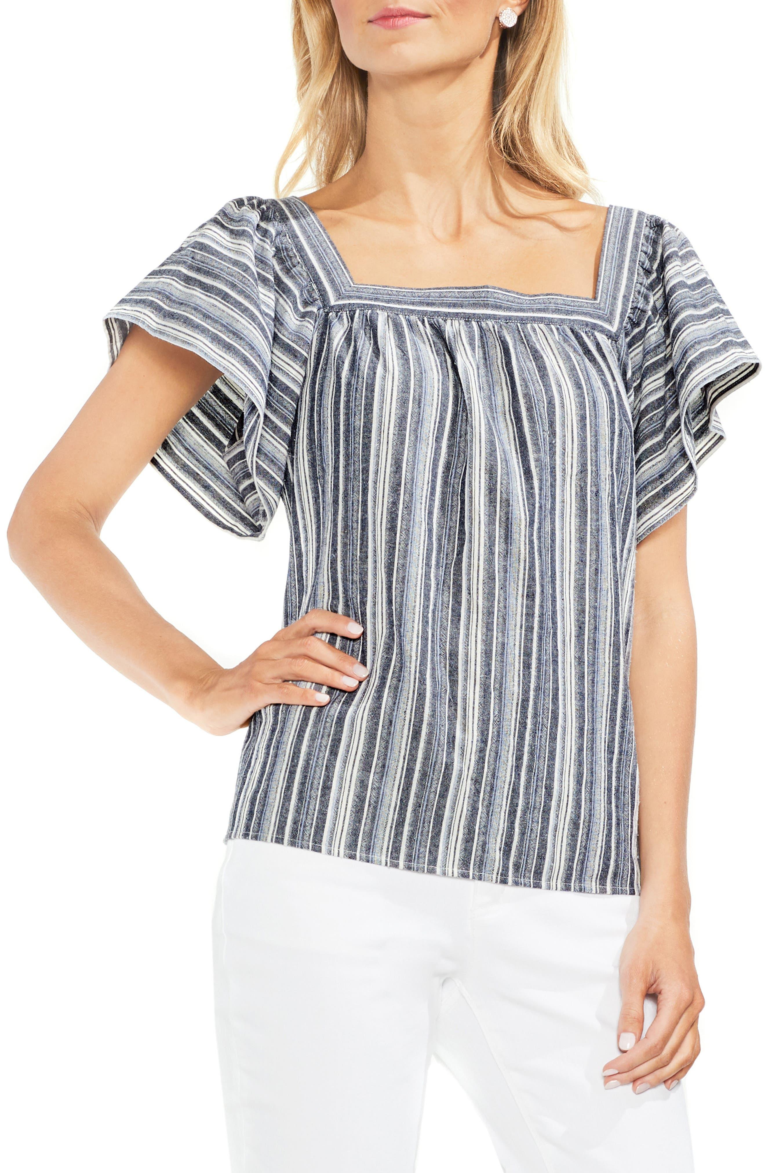 Charcoal Stripe Ruffle Sleeve Cotton Linen Top,                             Main thumbnail 1, color,                             Regatta Bay