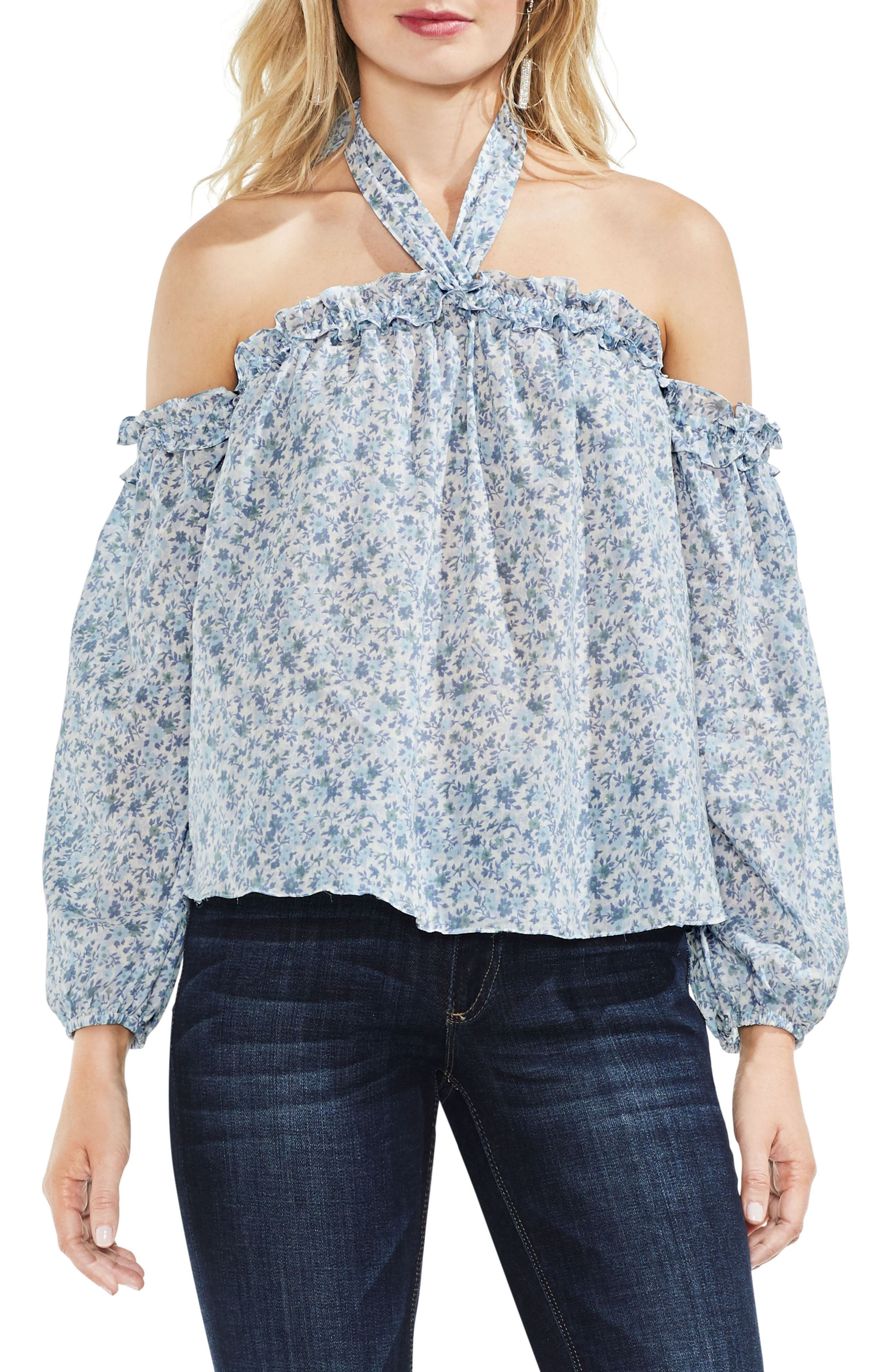 Whisper Ditsy Off the Shoulder Halter Top,                             Main thumbnail 1, color,                             Antique White