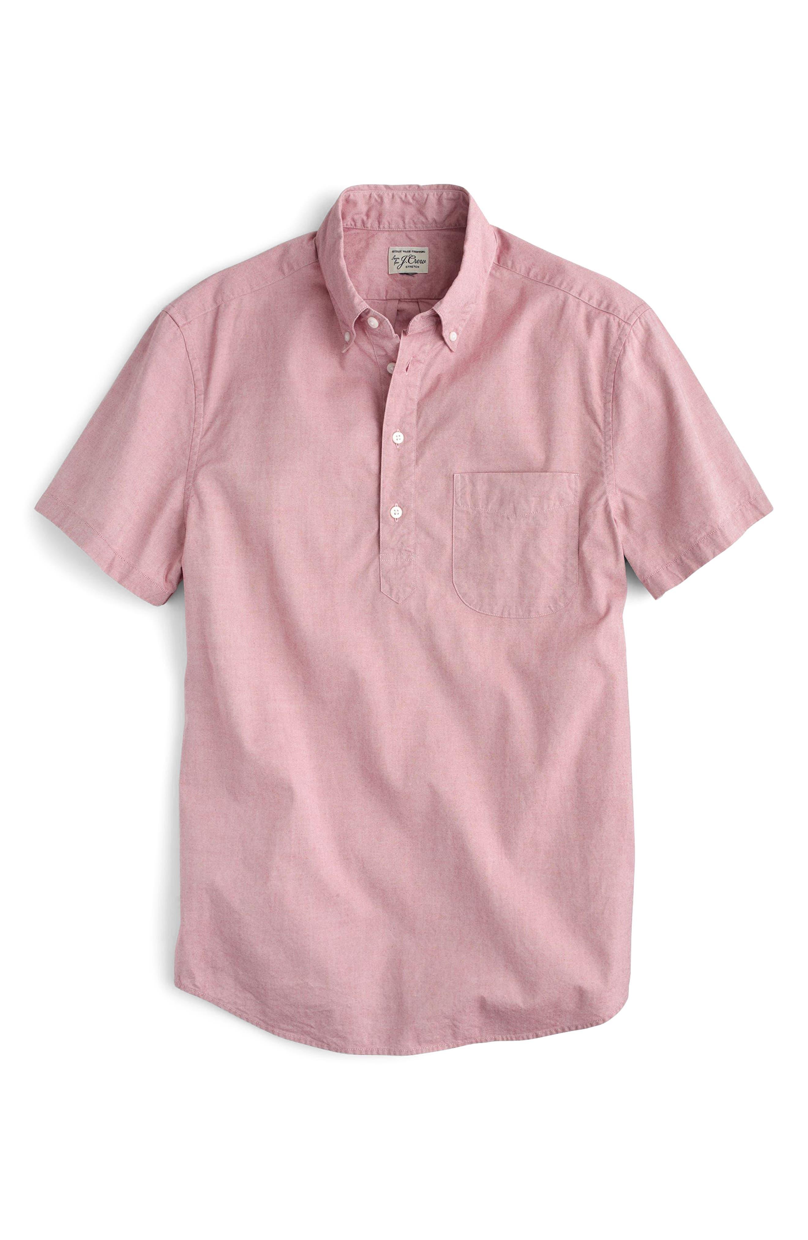 Stretch Secret Wash Short Sleeve Popover Shirt,                             Alternate thumbnail 3, color,                             Milan Red