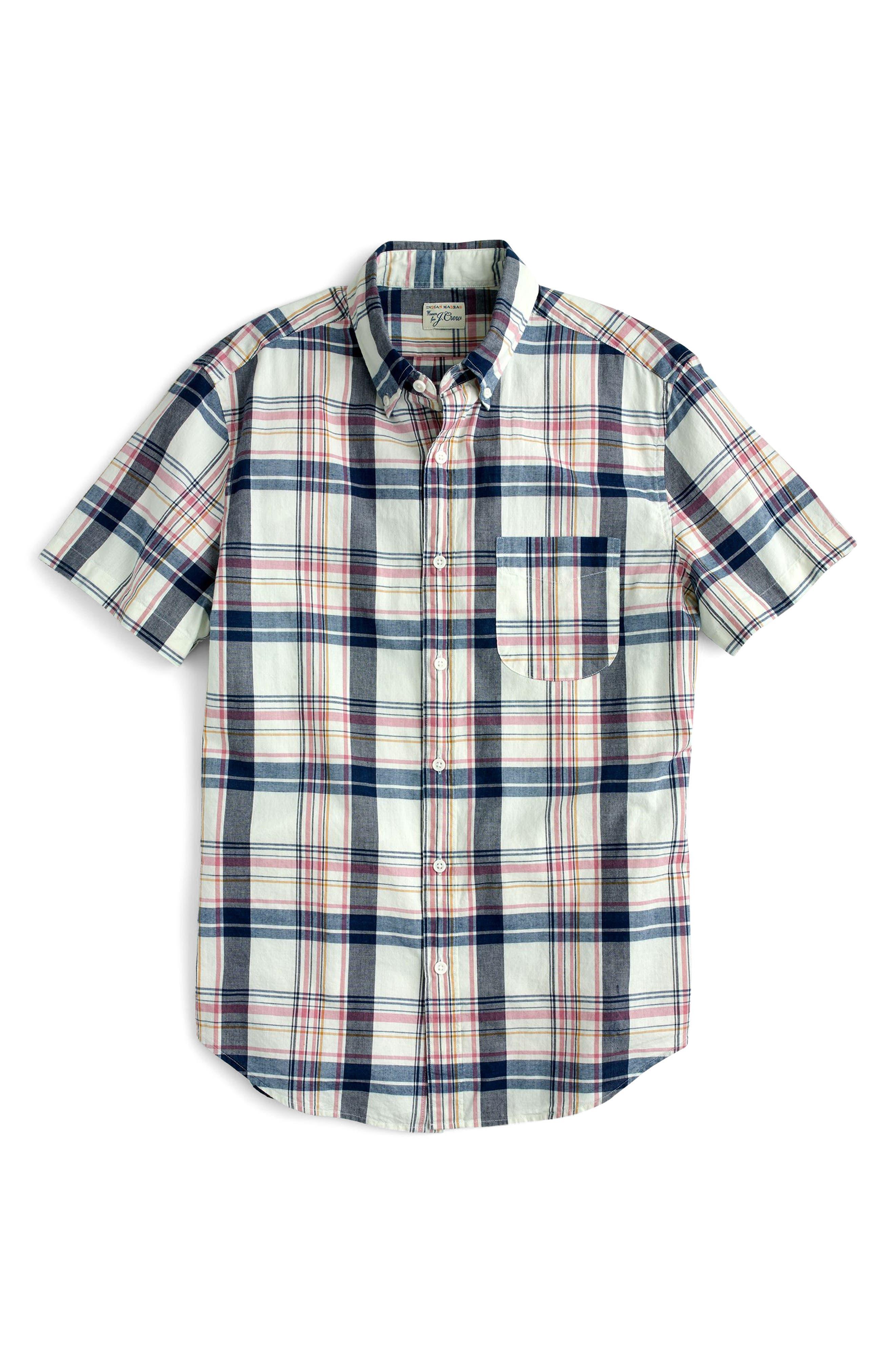 Indigo Plaid Short Sleeve Madras Shirt,                             Alternate thumbnail 4, color,                             Indigo Creme