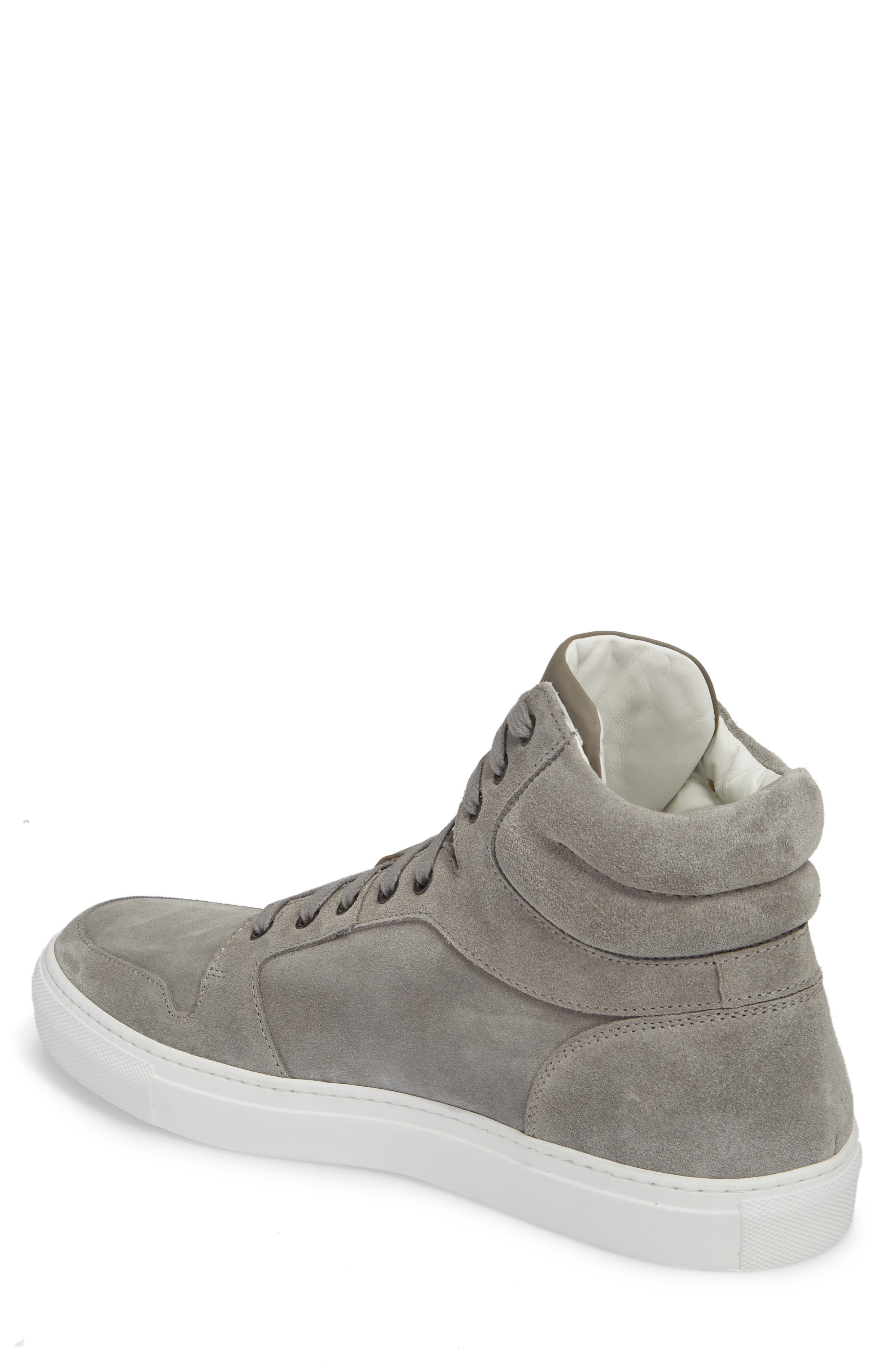 Belmont High Top Sneaker,                             Alternate thumbnail 2, color,                             Grey Suede