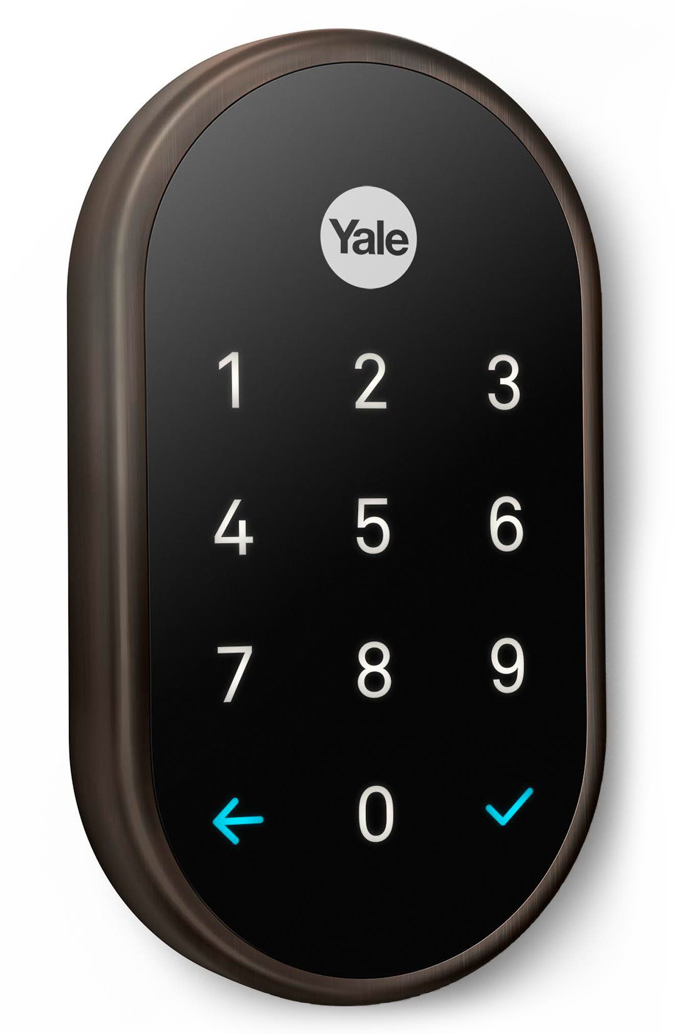 x Yale Passcode Deadbolt Lock with Nest Connect,                             Main thumbnail 1, color,                             Oil Rubbed Bronze