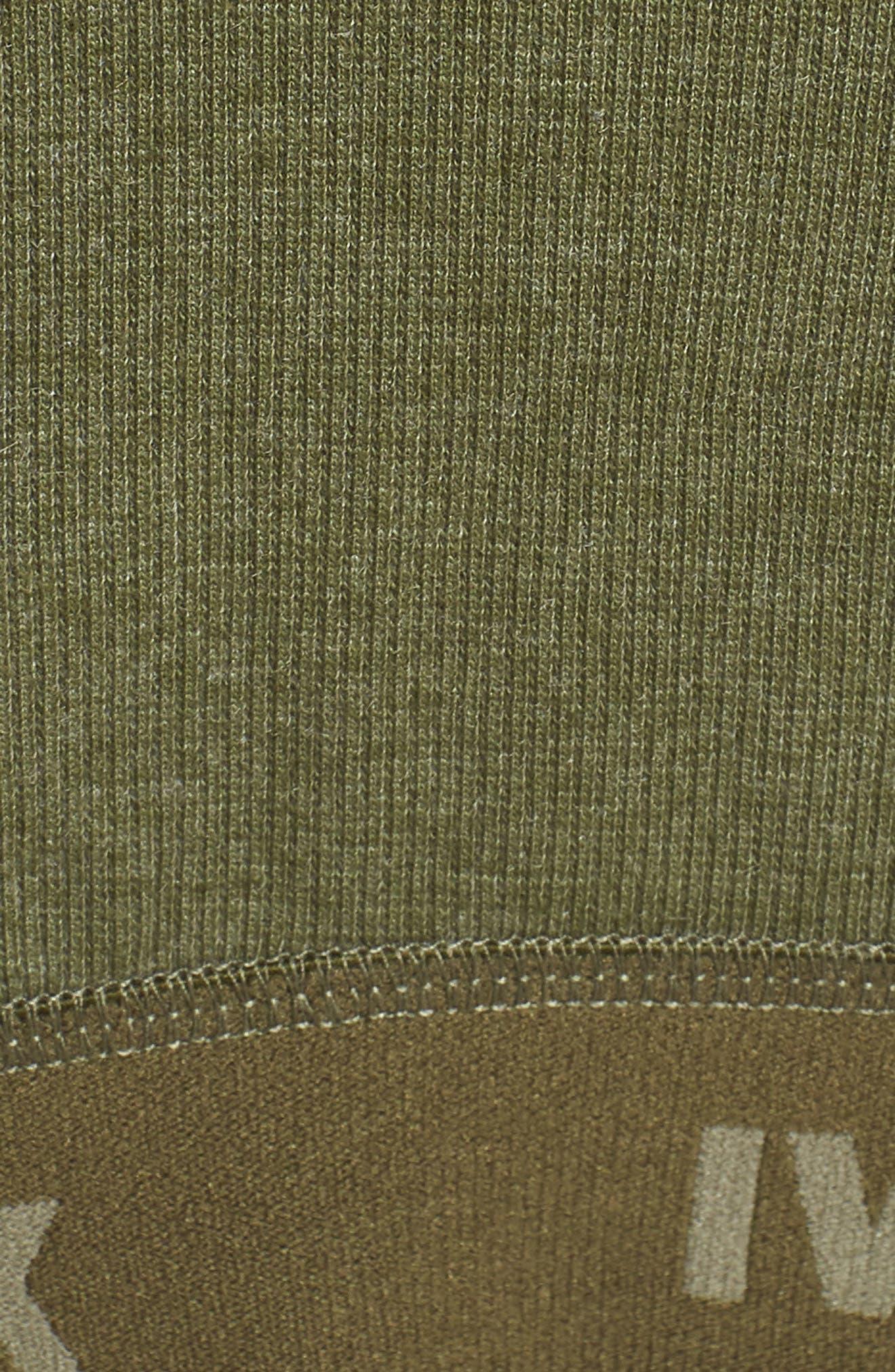 Plunge Crossover Rib Knit Sports Bra,                             Alternate thumbnail 6, color,                             Moss