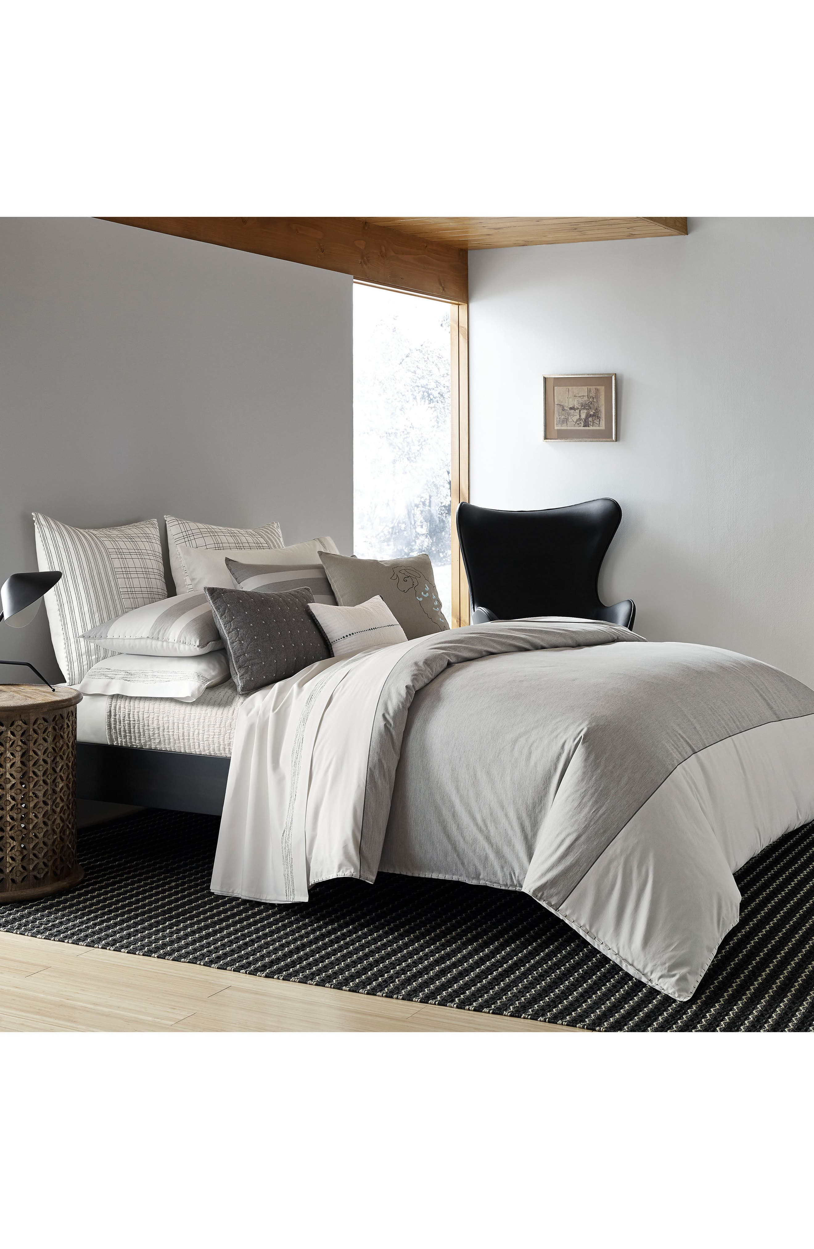 Greystone Duvet Cover,                         Main,                         color, Medium Grey