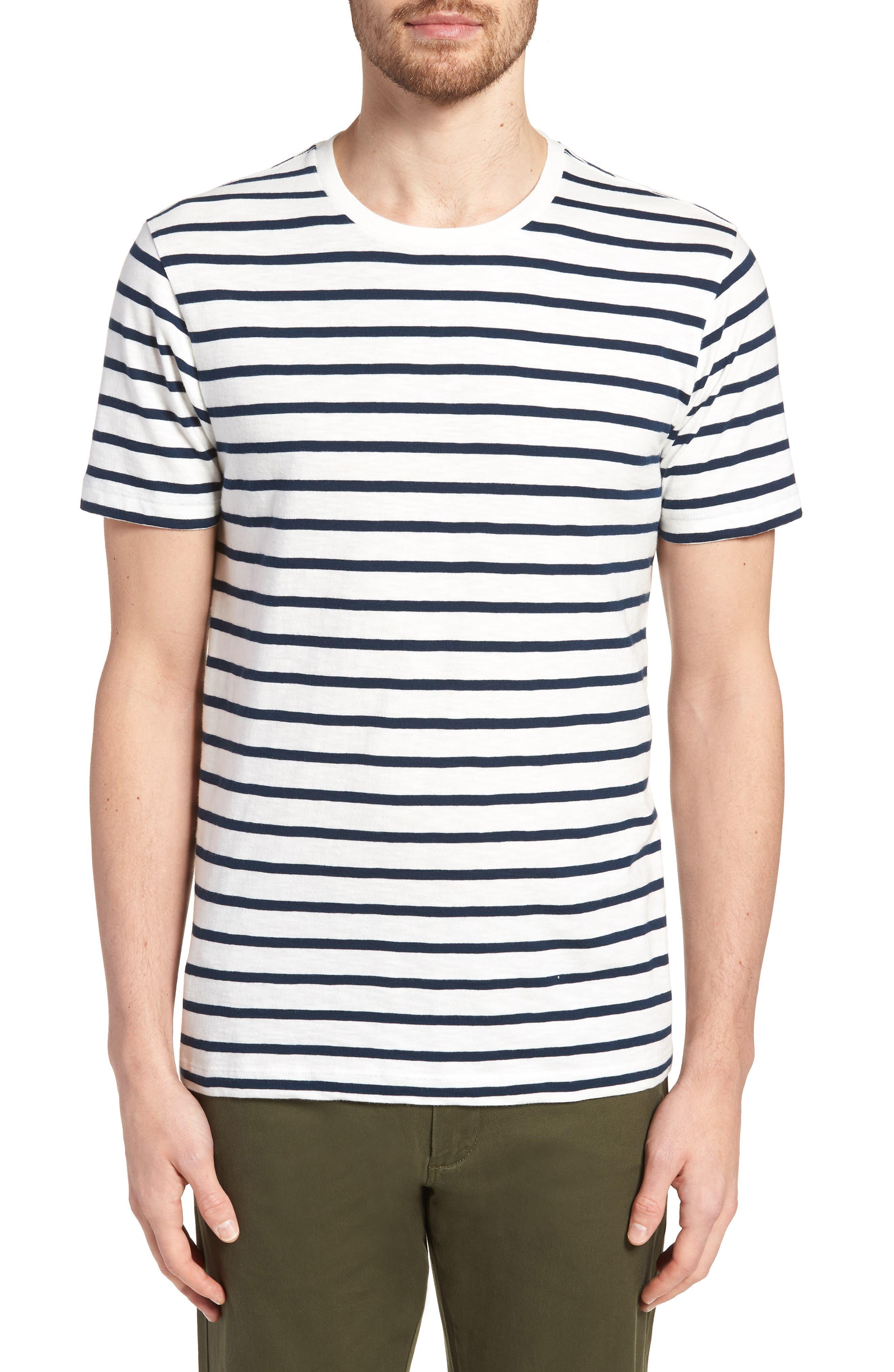 J.Crew Deck Stripe Slub Cotton T-Shirt,                         Main,                         color, Mountain White