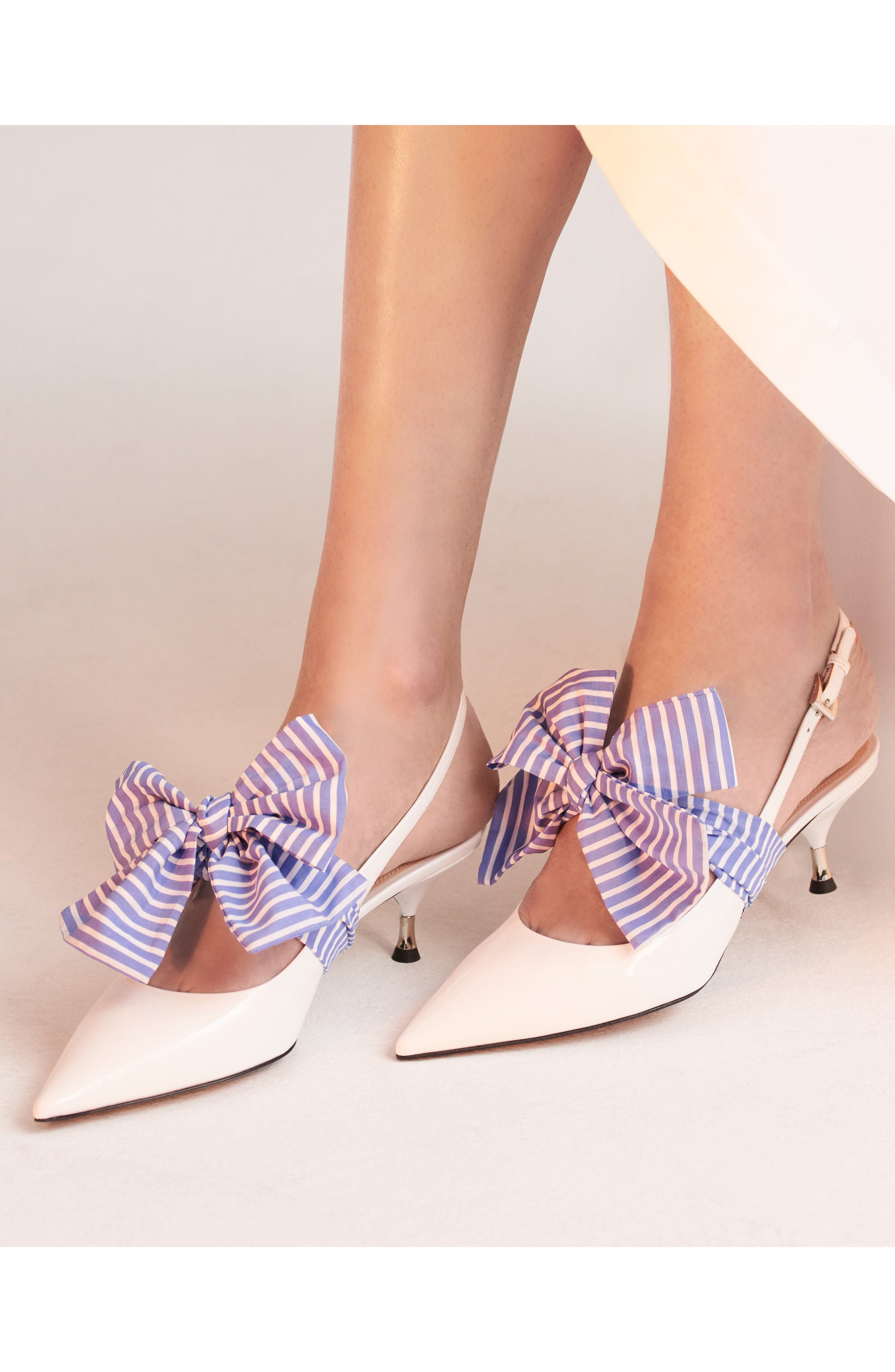 Bow Pointy Toe Pump,                             Alternate thumbnail 8, color,                             White
