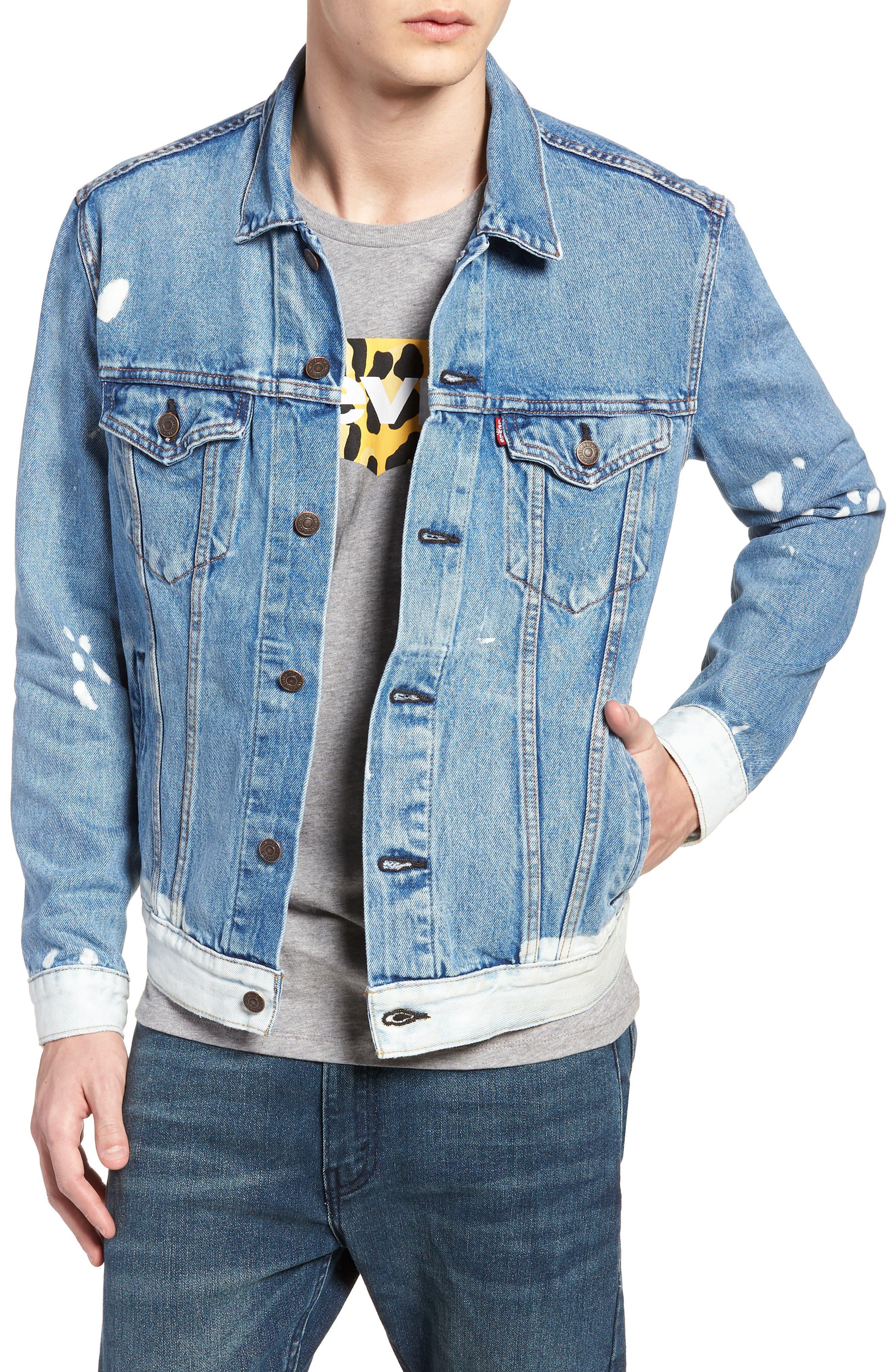 Denim Trucker Jacket,                         Main,                         color, Baez